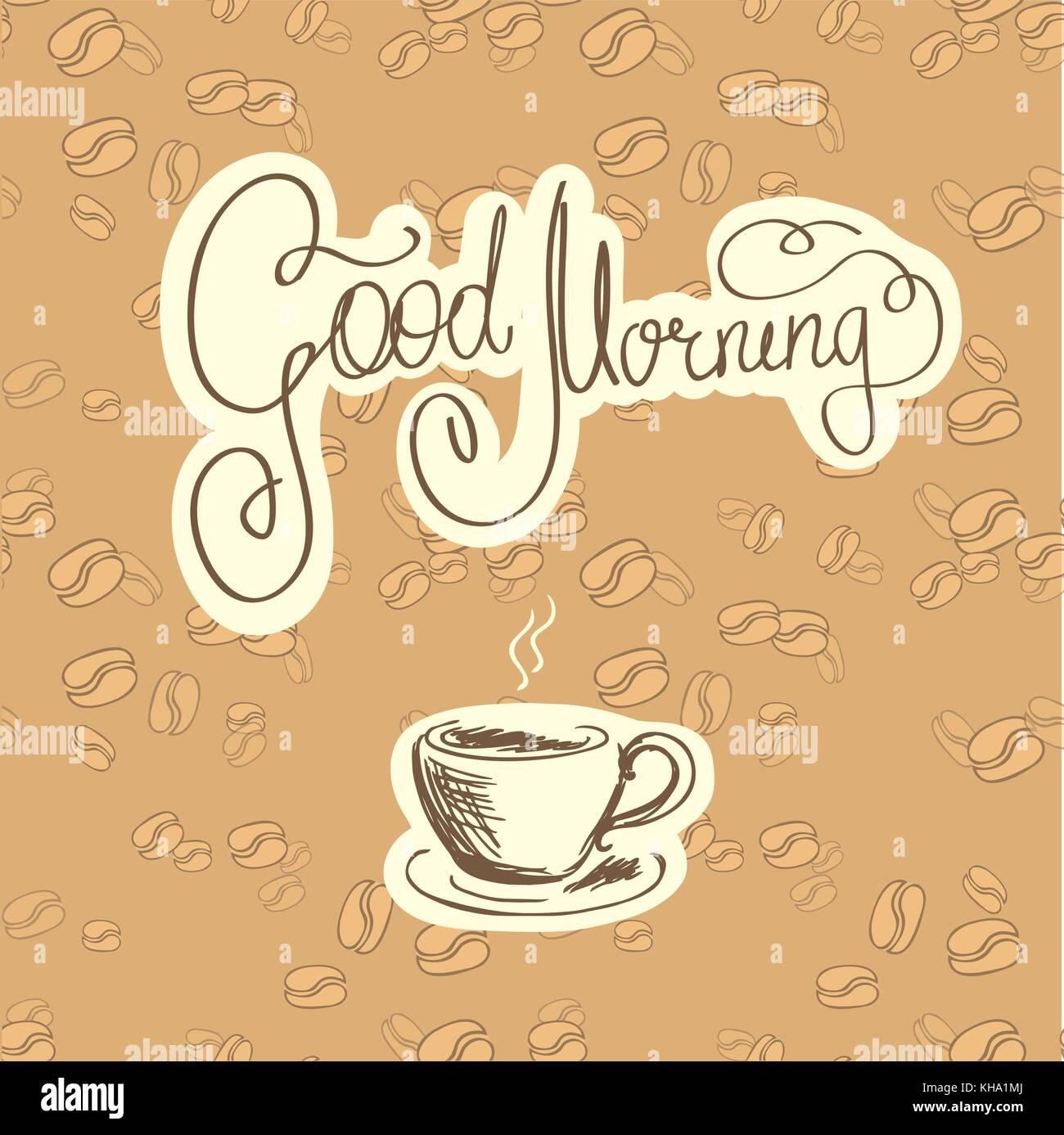 Guten Morgen Und Eine Tasse Kaffee Logo Oder Hintergrund