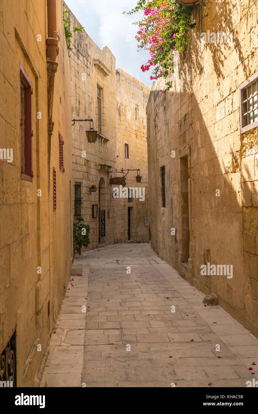 Schmale Gasse zwischen den alten Häusern, Mdina, Malta Stockbild