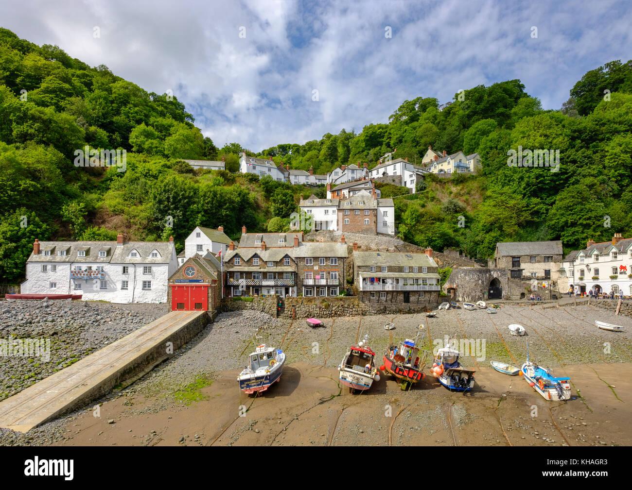 Fischereihafen, Clovelly, Devon, England, Großbritannien Stockbild