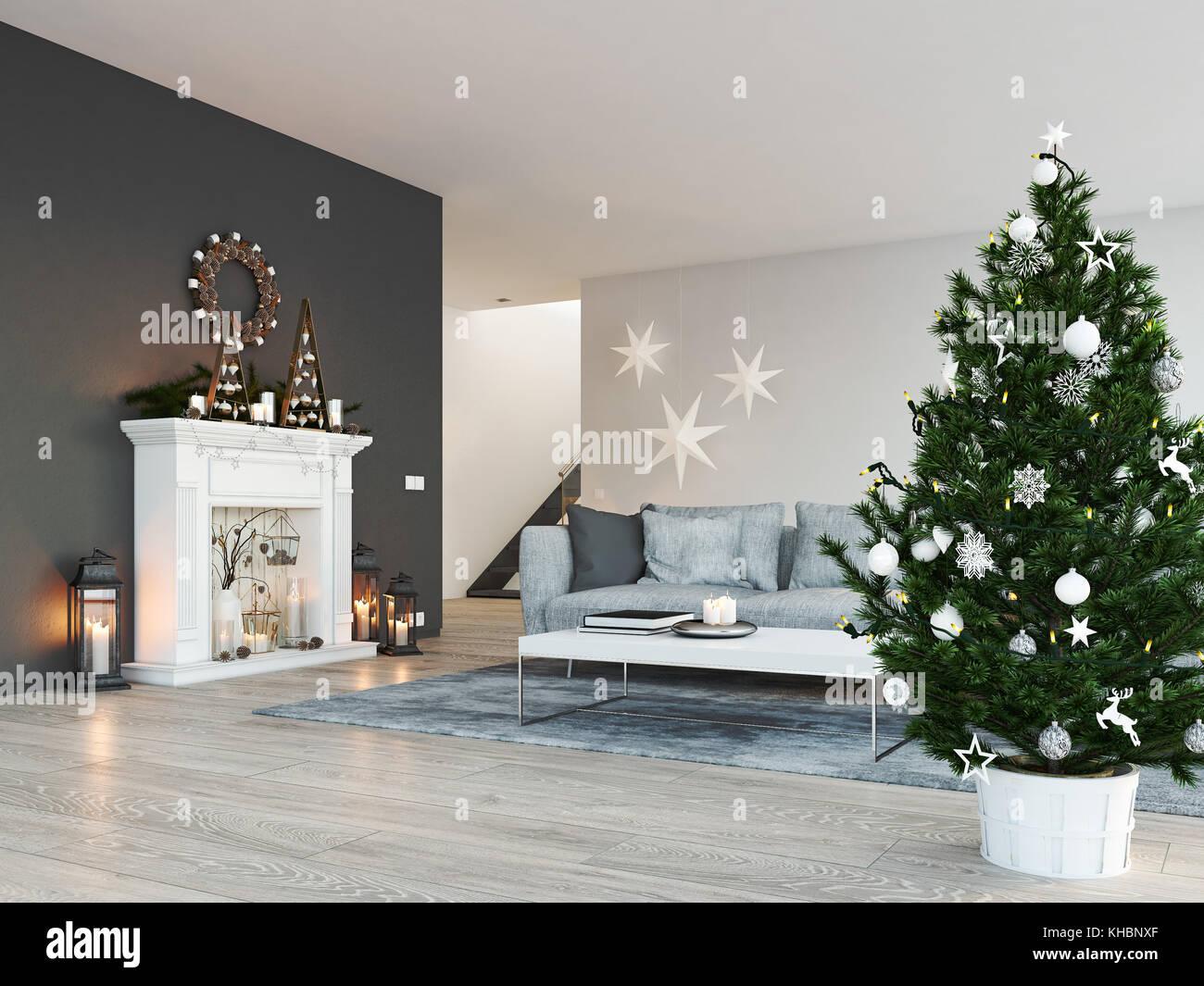 3d Rendering Haus Mit Kamin In Modernen Apartment Weihnachten Dekoration Stockfotografie Alamy