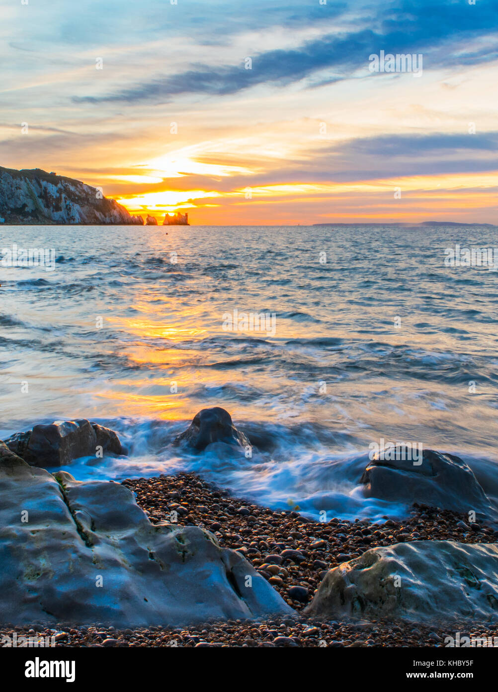 Alum Bay Sonnenuntergang Stockfoto