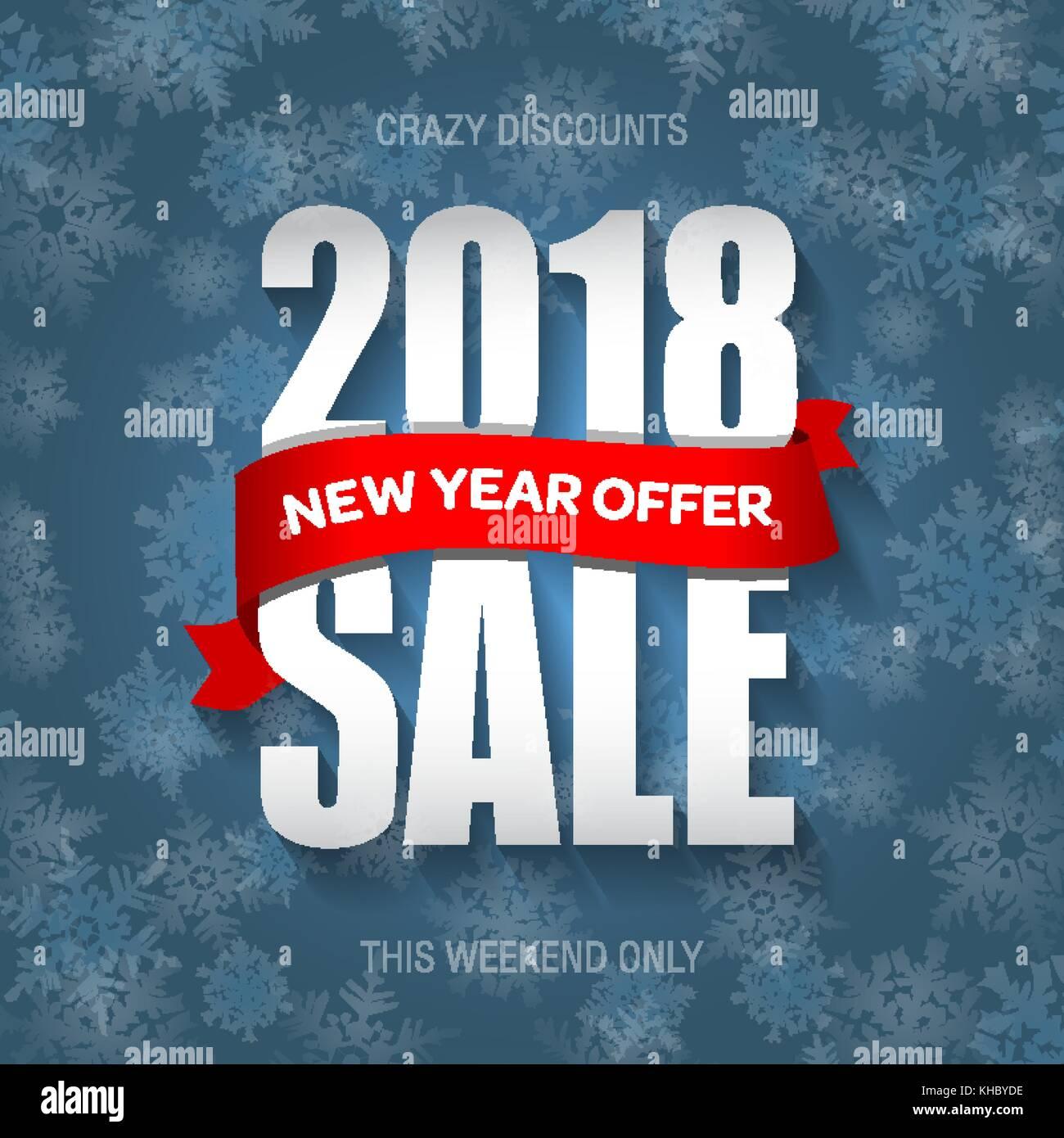 Neues Jahr 2018 Verkauf Abzeichen Label Promo Banner Vorlage