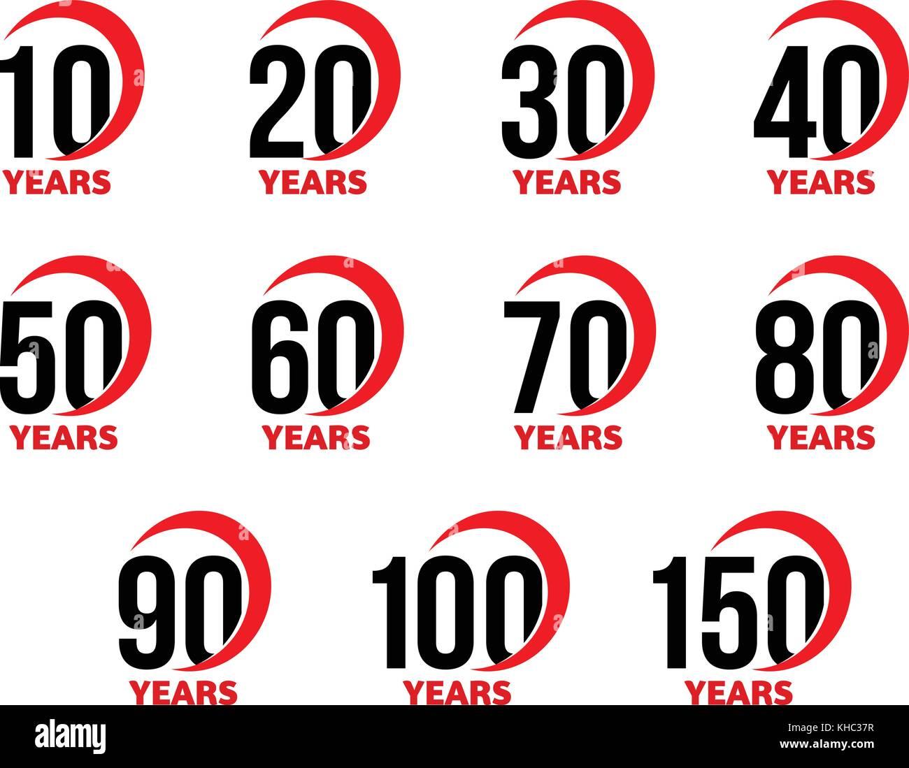 Jahrestag Zeichen Gesetzt Schwarze Zahlen Mit Roten Abstrakte Arc