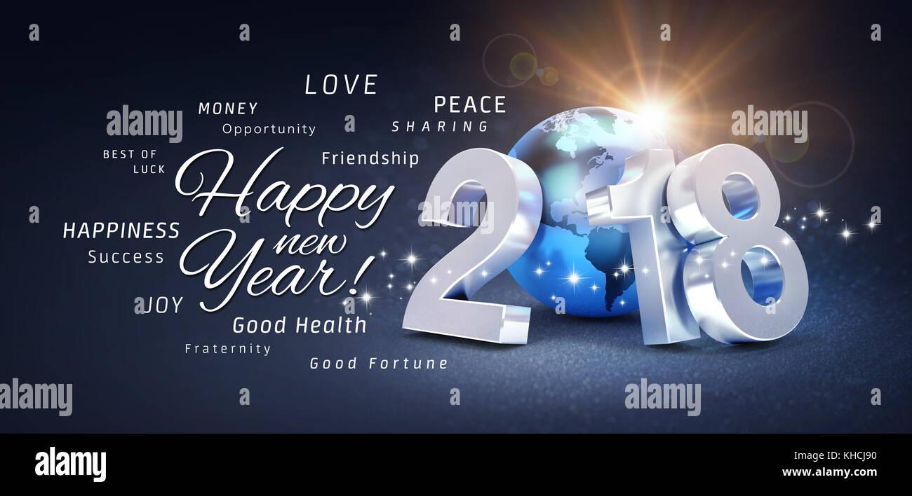 2018 Neues Jahr Typ besteht aus einem blauen Planeten Erde und alle ...