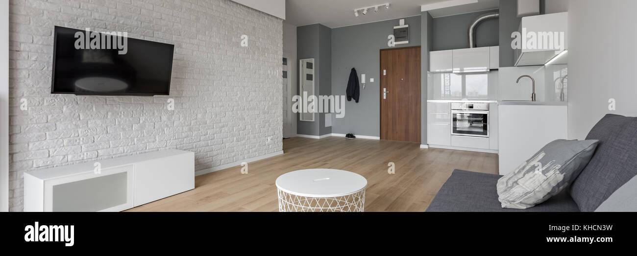 Modernes Studio mit TV, Sofa und kleine, offene Küche, Panorama ...