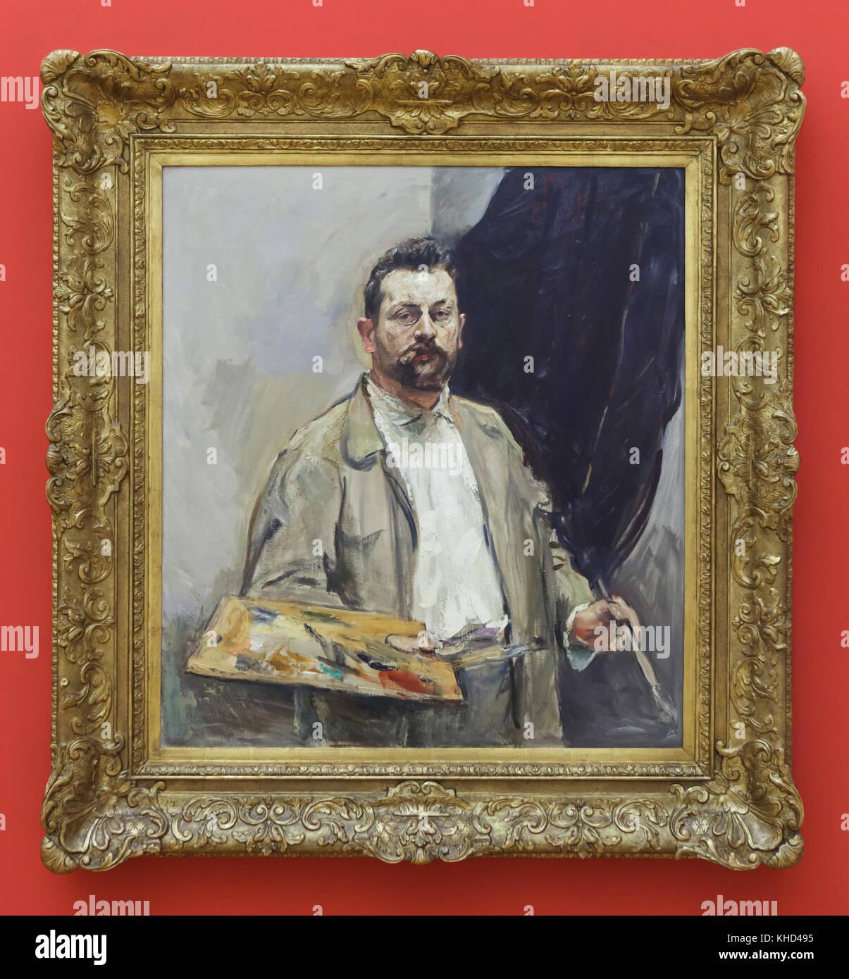 """Malerei 'Selbst-Portrait mit der Palette"""" (1906) von Deutschen impressionistischen Malers Max Slevogt auf Anzeige Stockfoto"""