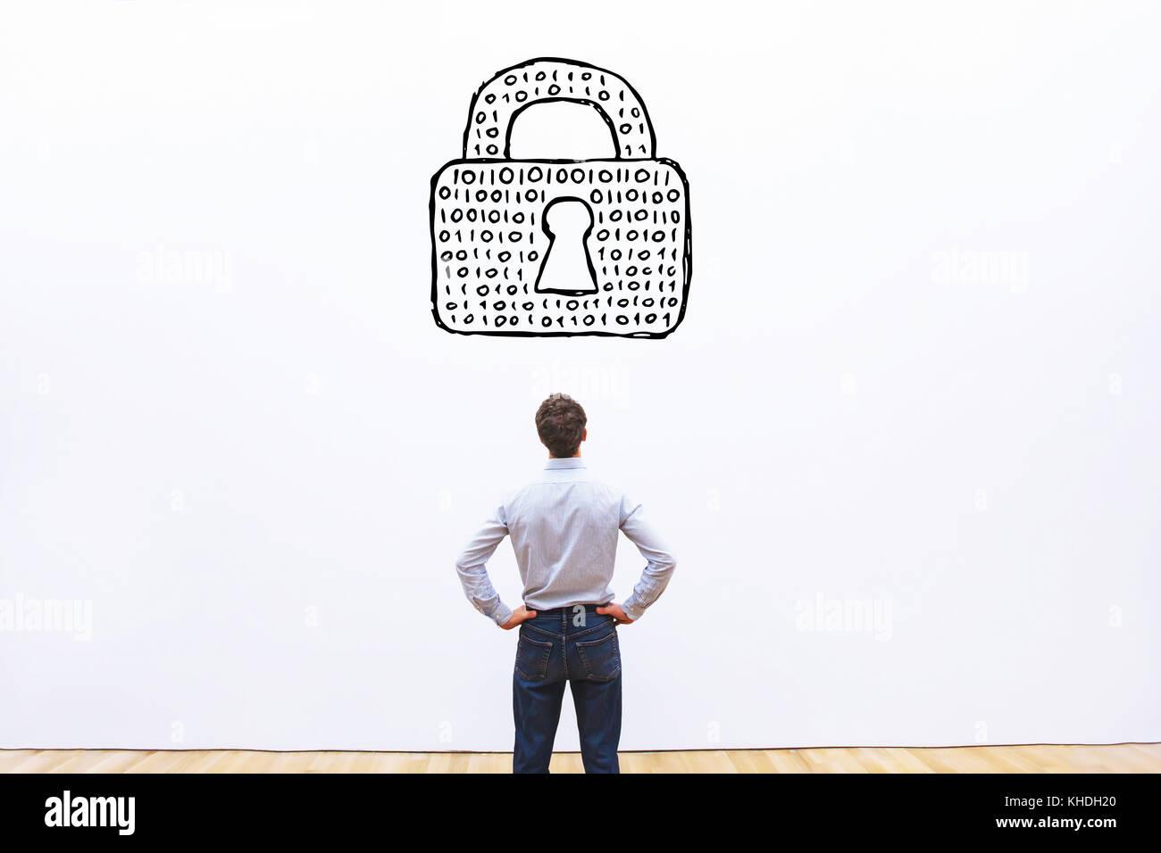 Schutz persönlicher Daten Konzept, cybersecurity von Daten, digitalen Schloss mit binären Code von Passwort Stockbild