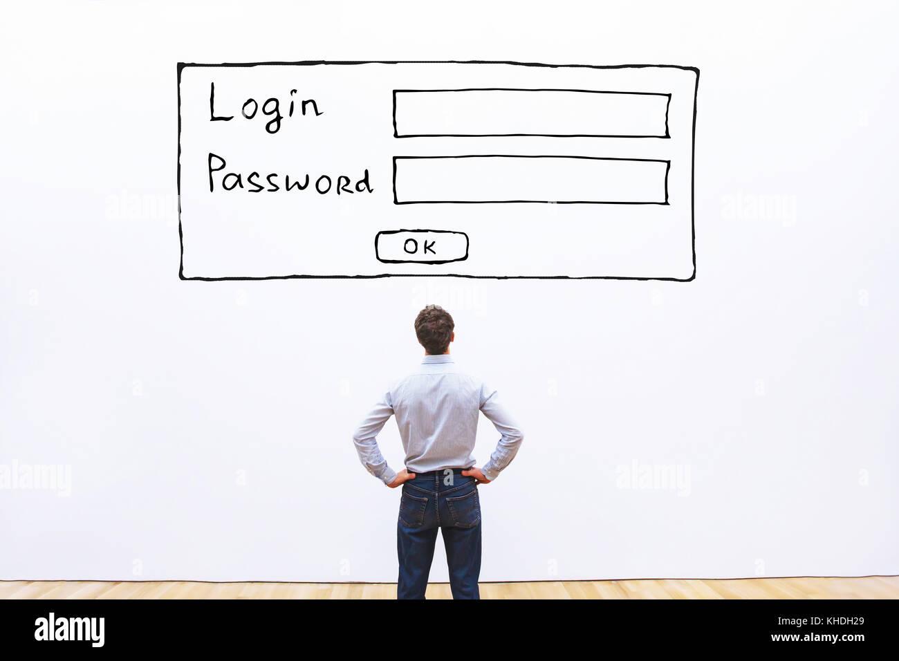 Login und Passwort, Datenschutz und Cyberkriminalität Sicherheitskonzept Stockfoto