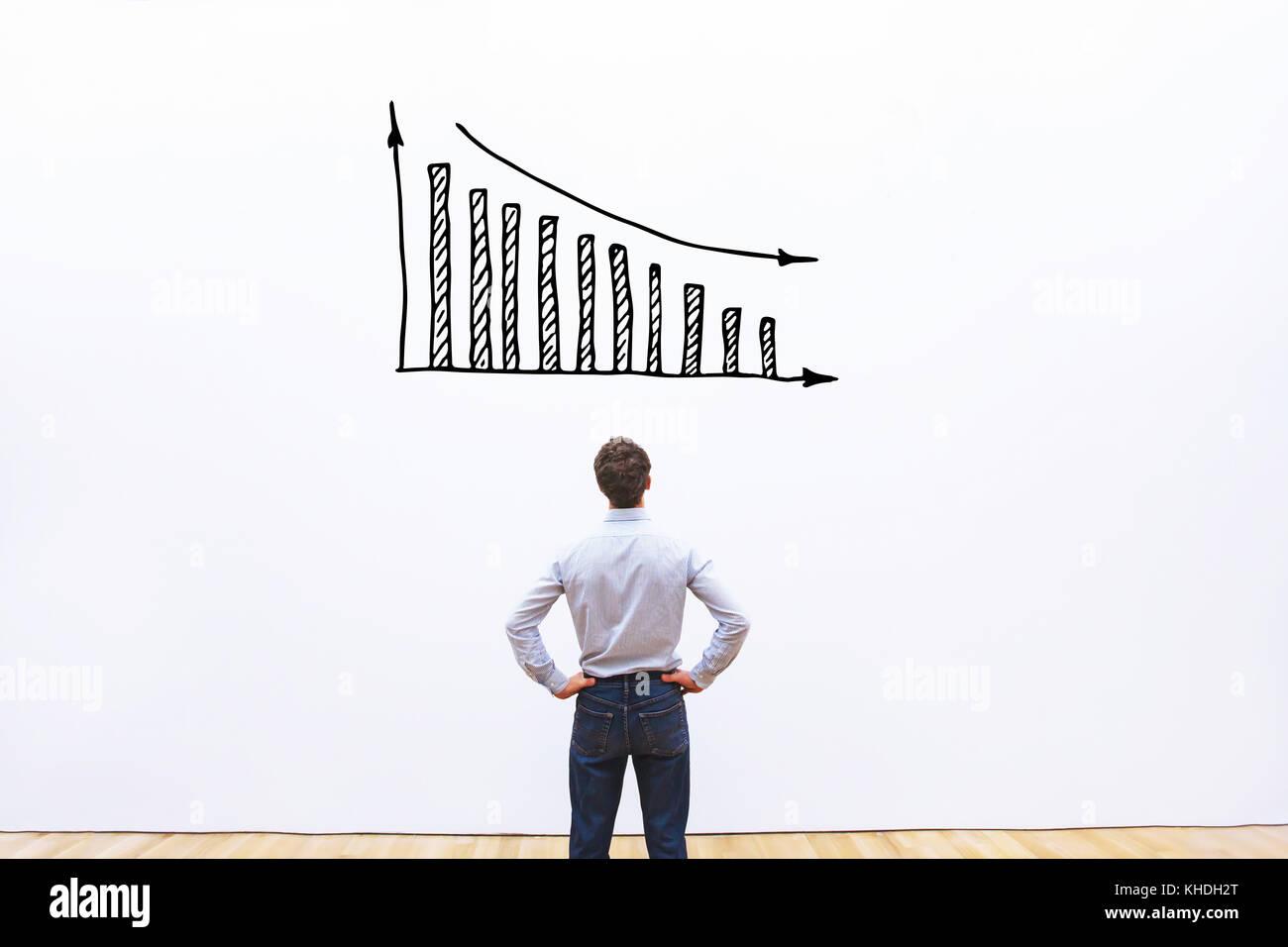 Rückgang von Umsatz und Gewinn, Konkurs, Geschäftskonzept, Finanzkrise in Unternehmen Stockbild
