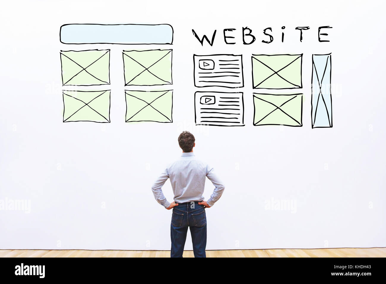 Website Layout, Skizze Web Design der Homepage Stockbild