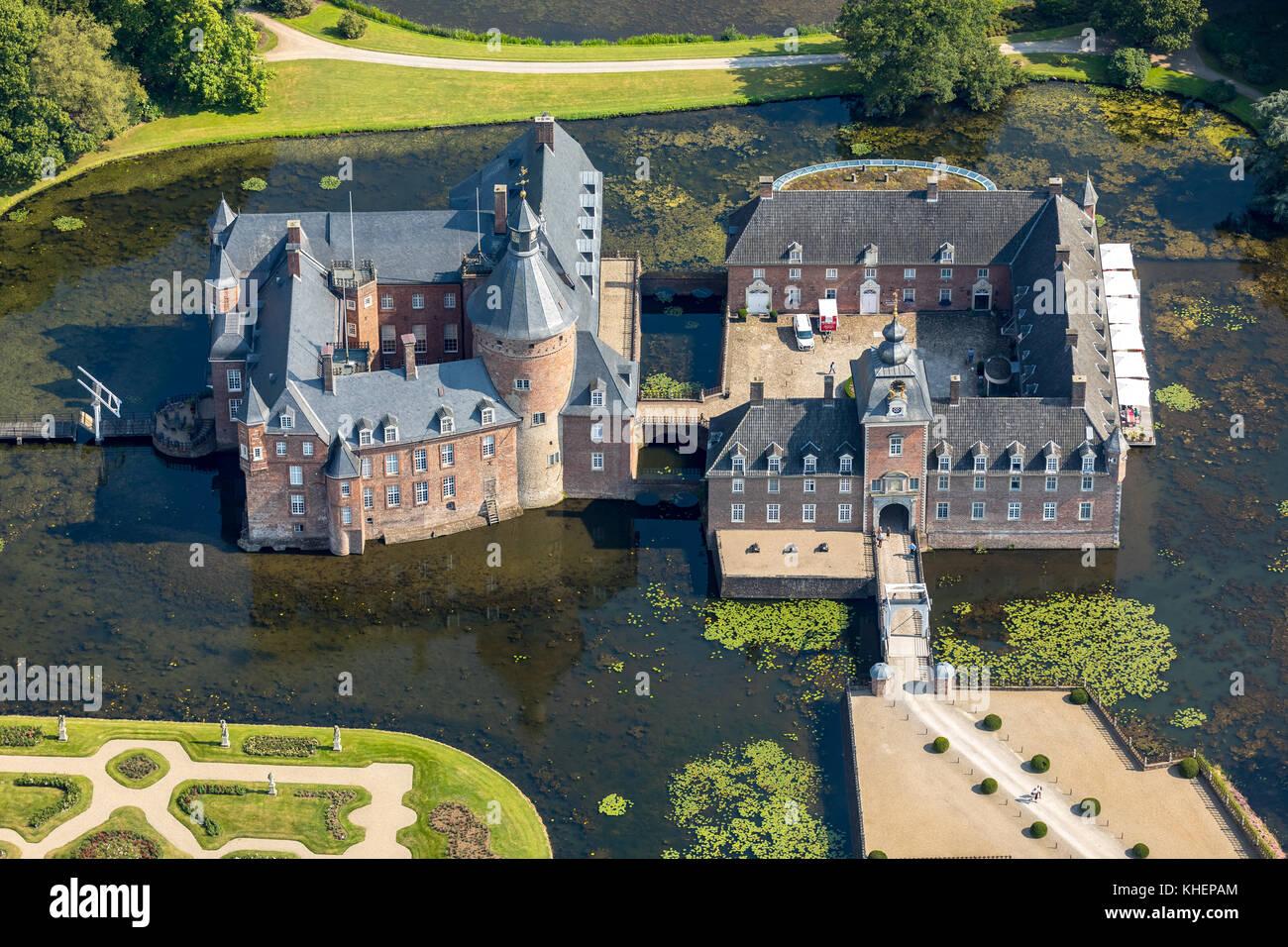 Romantik Parkhotel Wasserburg Anholt, Museum Wasserburg Anholt, mit barocken Garten, wasserschloss Anholt, Isselburg Stockfoto