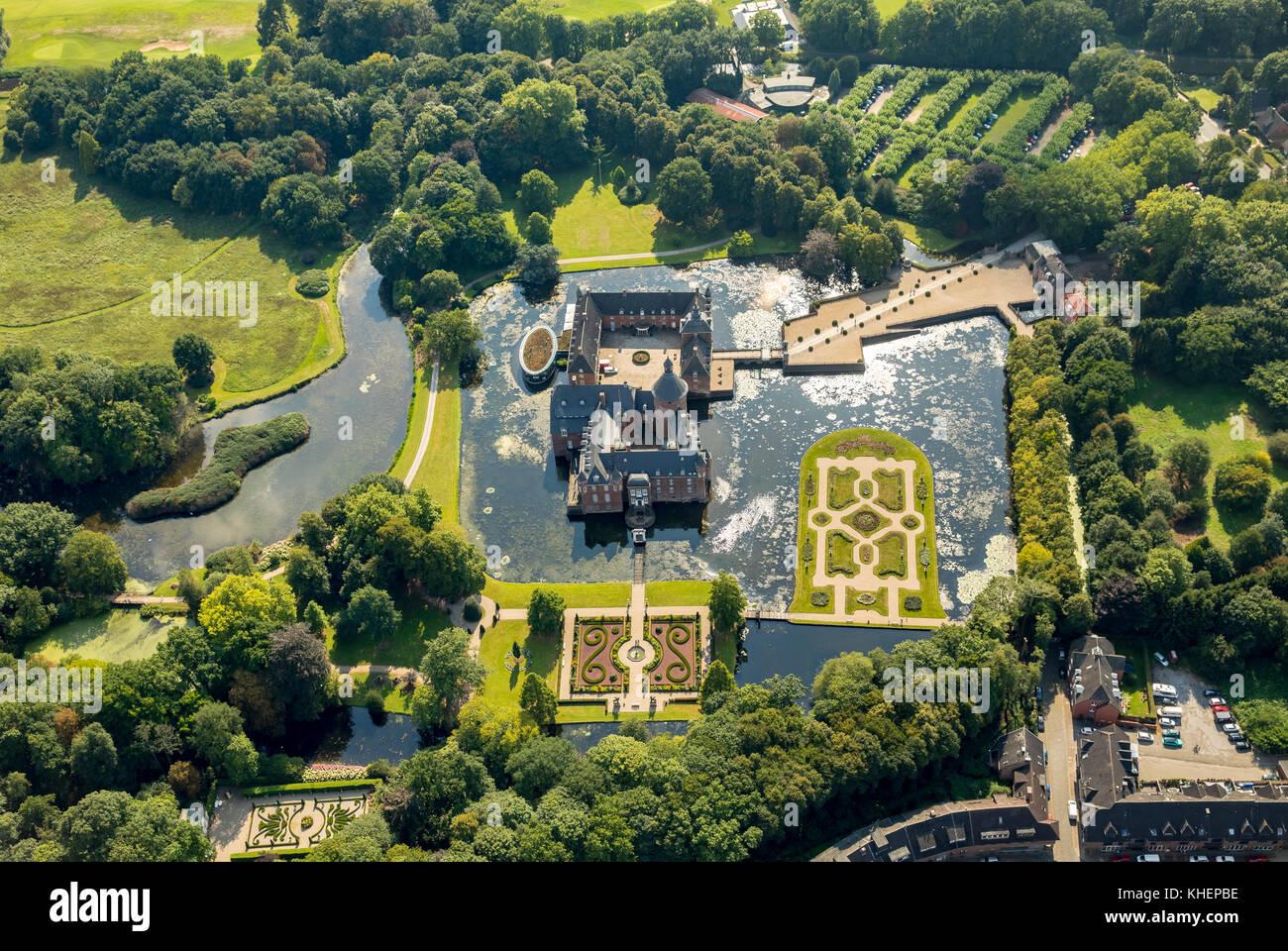 Romantik Parkhotel Wasserburg Anholt, Museum Wasserburg Anholt, mit barocken Garten, wasserschloss Anholt, Isselburg Stockbild