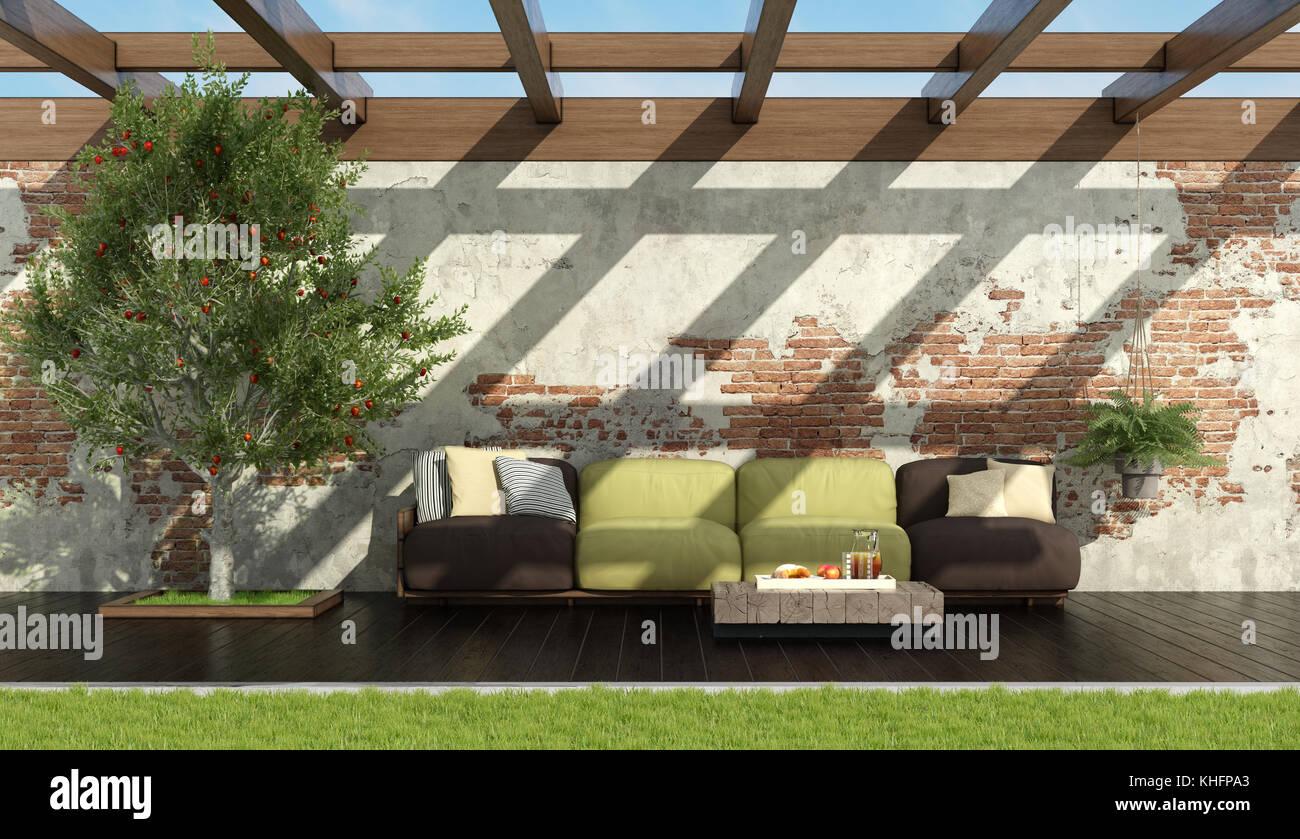 Dunkler Holzfußboden ~ Garten mit braun und grün rot palette sofa auf dunkler holzfußboden