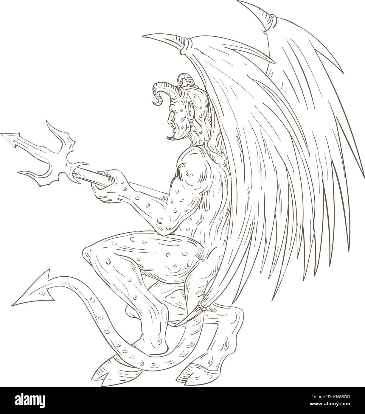 Devil Demon Trident Pitchfork Stockfotos & Devil Demon Trident ...