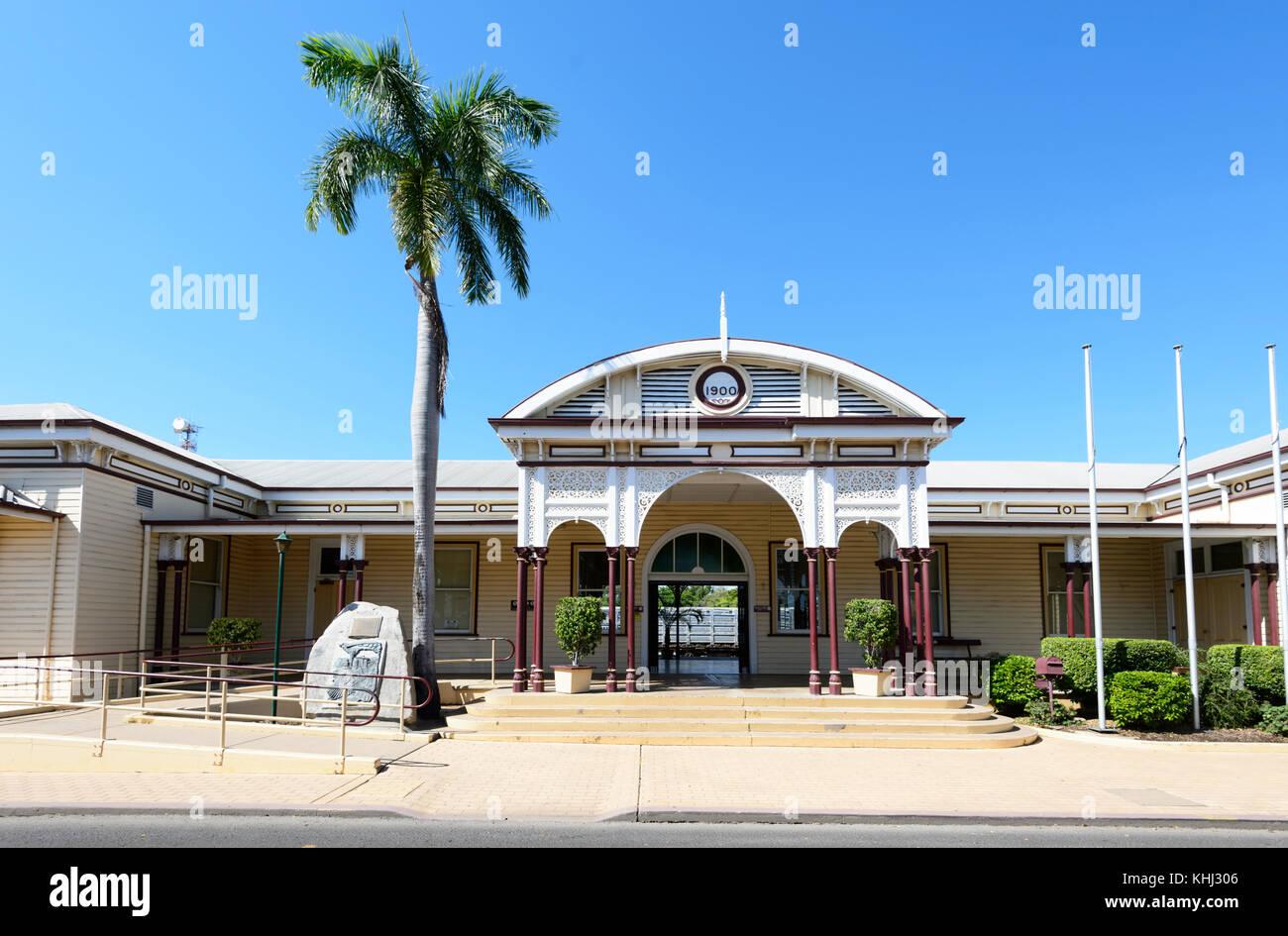 Denkmalgeschützte Bahnhof in 1900 in Smaragd, Central Queensland, Queensland, Australien gebaut Stockbild