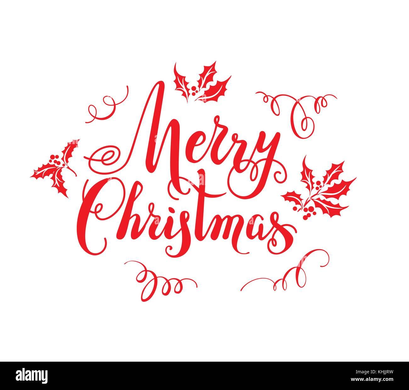 Rot frohe Weihnachten Schriftzug Vektor Abbildung - Bild: 165752381 ...