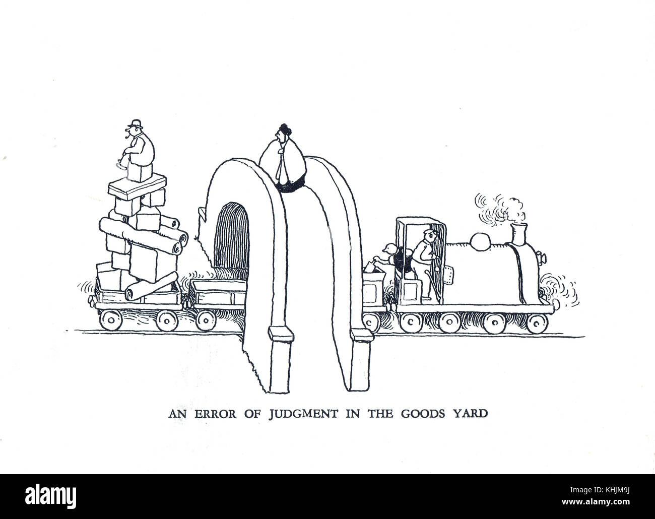 Ein Fehler des Urteils in den Güterbahnhof, Cartoon von William Heath Robinson Stockbild