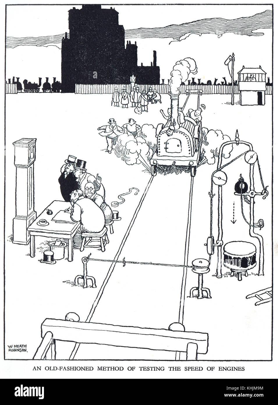 Altmodische Methode der Prüfung der Drehzahl von Motoren, Karikatur von William Heath Robinson Stockbild