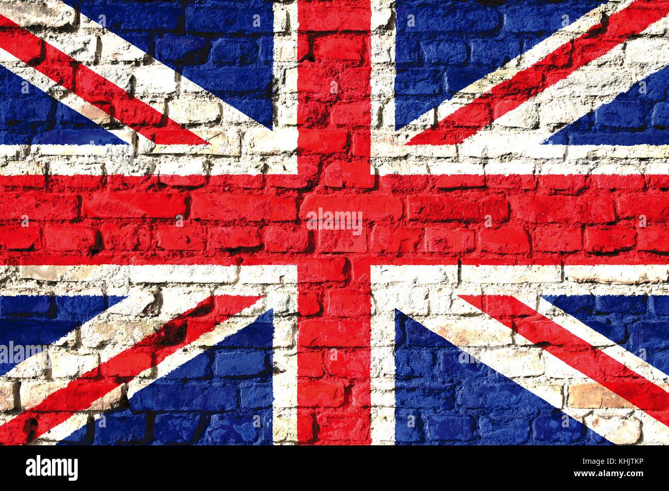 Vereinigtes Königreich (uk) Flagge Malte Auf Eine Wand. Konzept Bild Für  Großbritannien, Großbritannien, England, Englische Sprache Und Kultur.