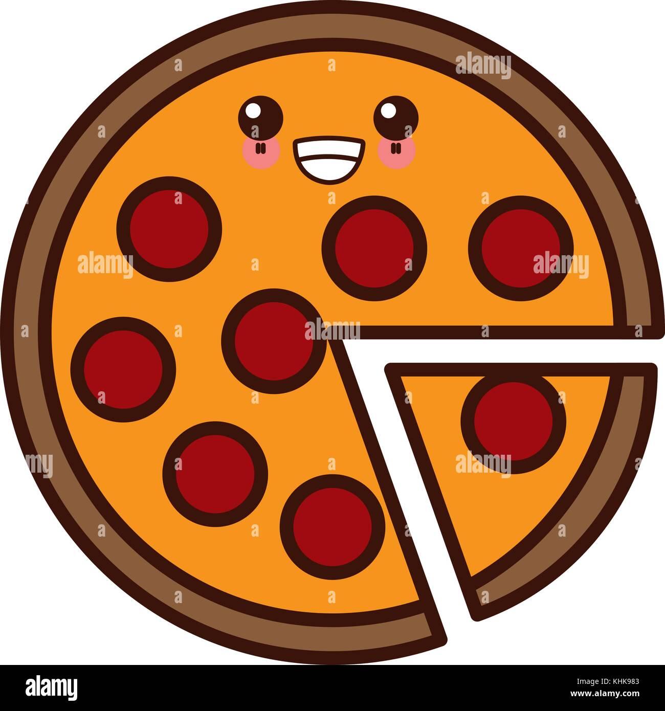 Big Pizza Symbol Kawaii Cute Cartoon Vektor Abbildung Bild