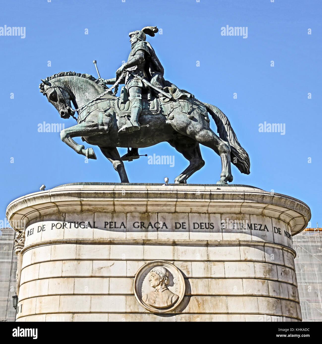 Bild hdr das Reiterstandbild von König Dom João I, in Figueira Platz in Lissabon, Portugal. Stockbild