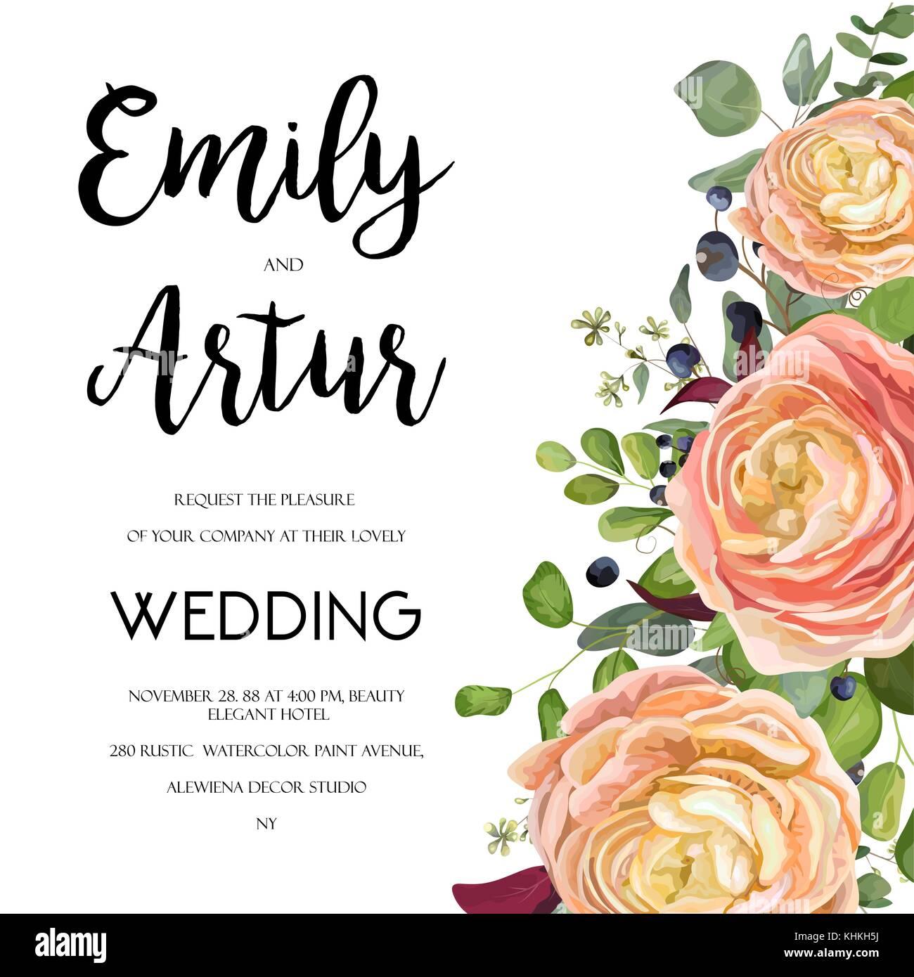 Hochzeit einladung card design mit aquarell hand laden gezeichnet pink peach rose ranunculus blume liguster blue berry eukalyptus farn blatt bouquet l