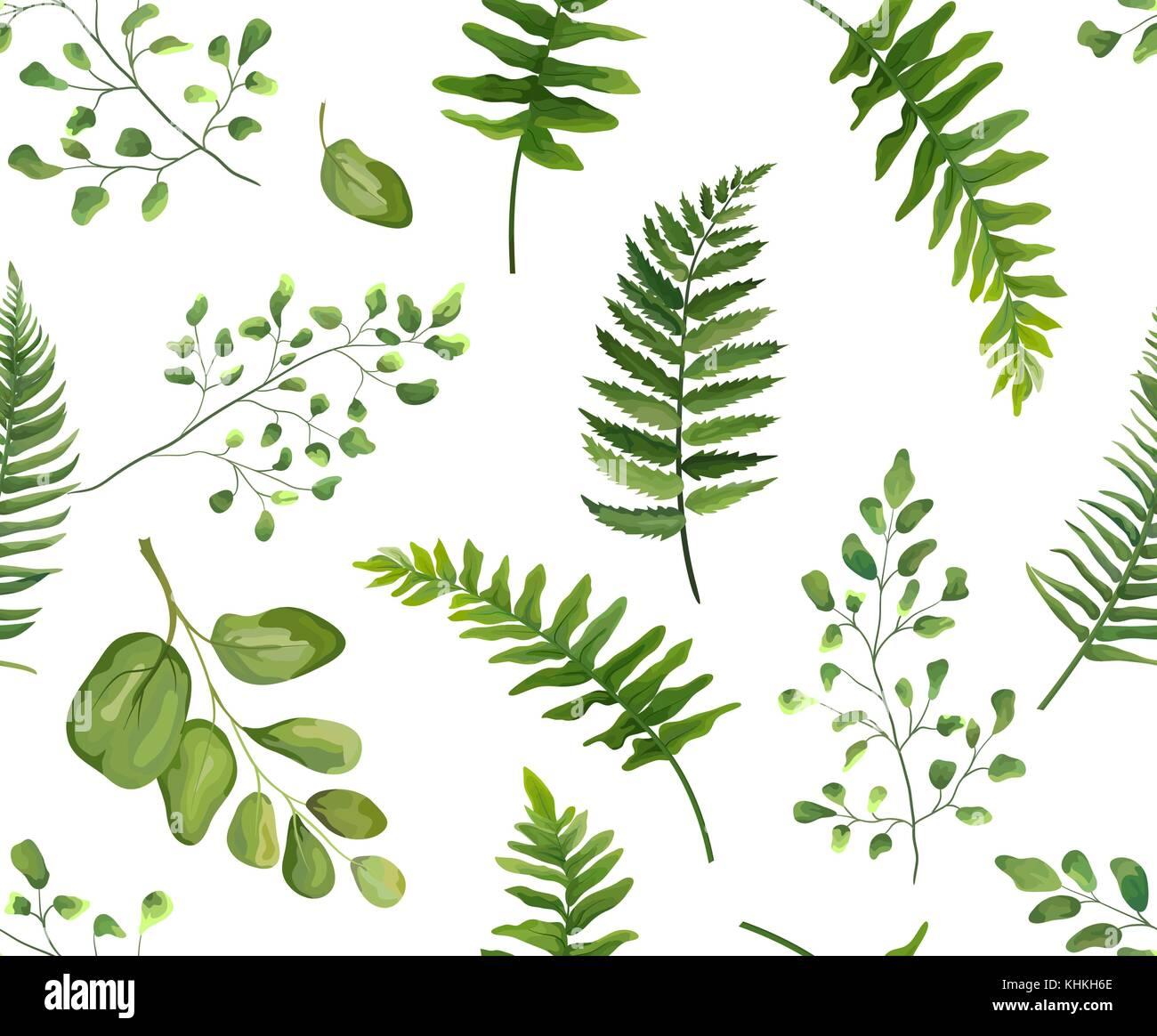 nahtlose gr n gr ne bl tter botanischen und rustikal muster vektor blumen aquarell stil wald. Black Bedroom Furniture Sets. Home Design Ideas