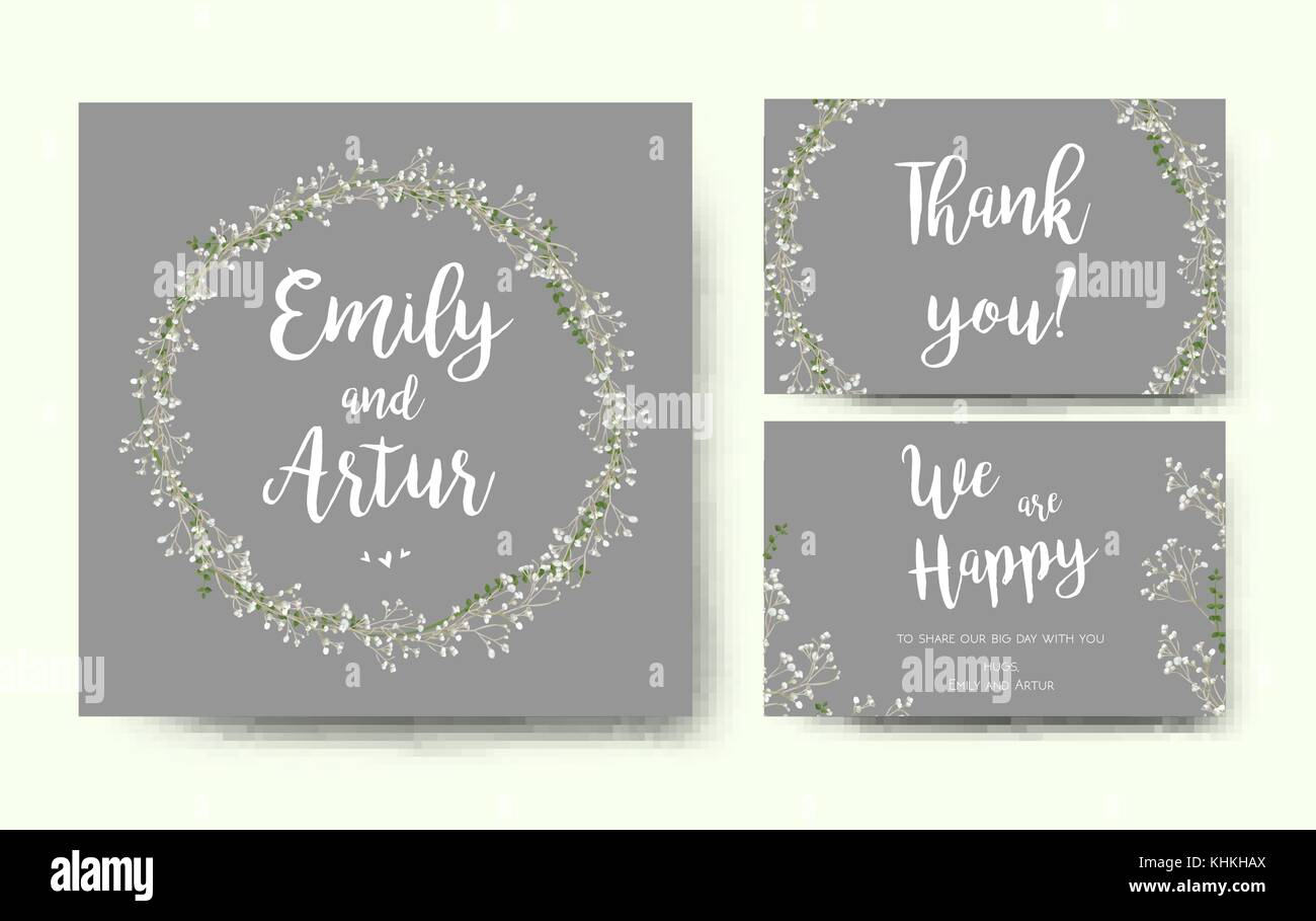 Einladung Hochzeit Blumen Blume Card Silber Grau Design Mit Garten