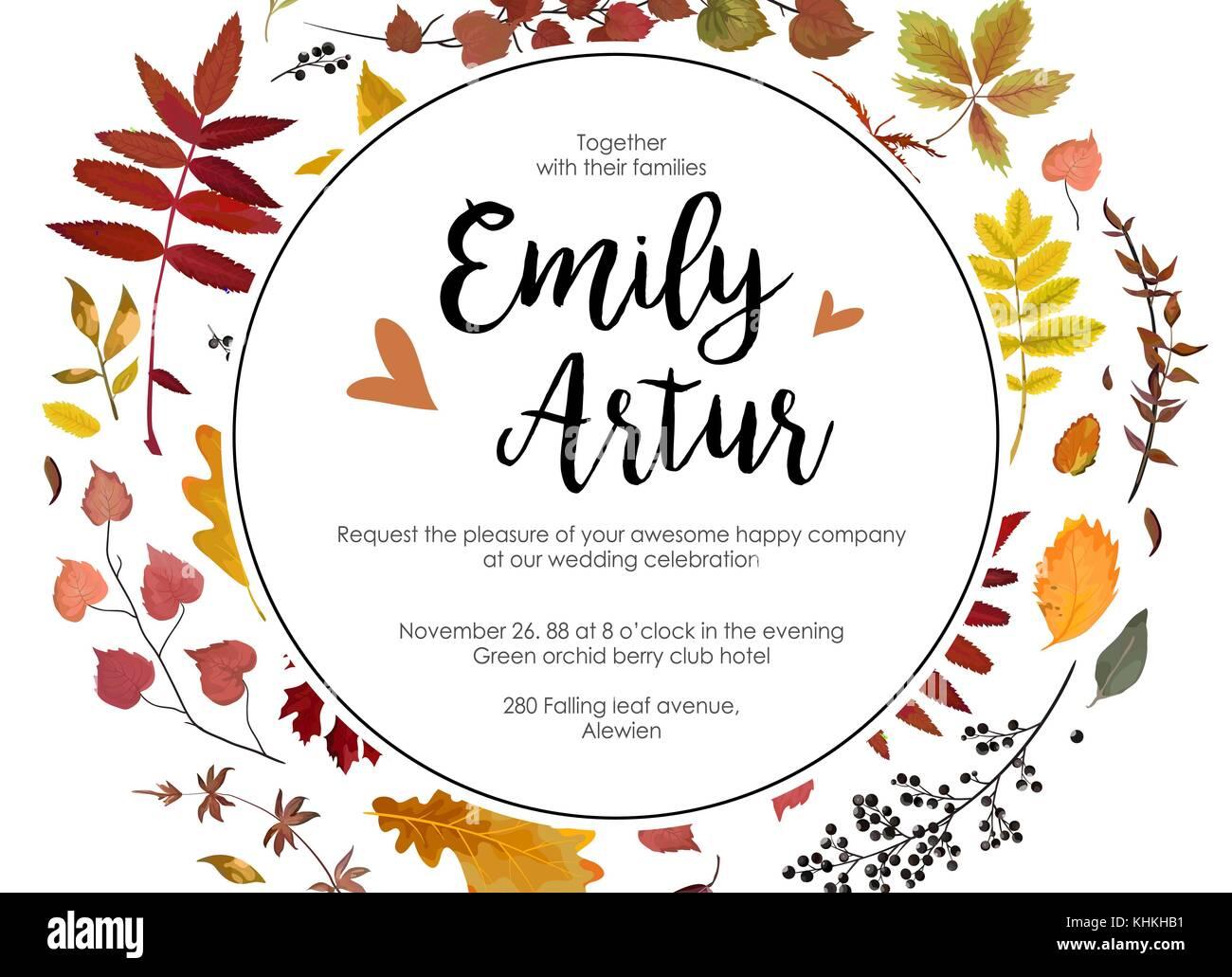 Hochzeit Herbst Einladen Einladung Blumen Aquarell Stil Card Design