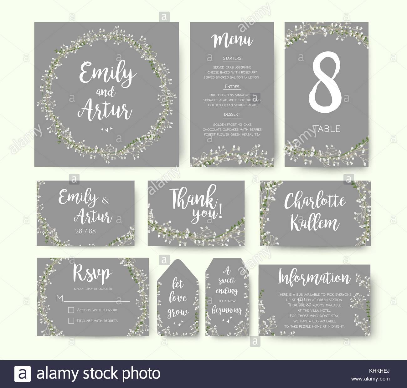 Einladung Hochzeit Blumen Blume Card Silber Grau Design Einladen
