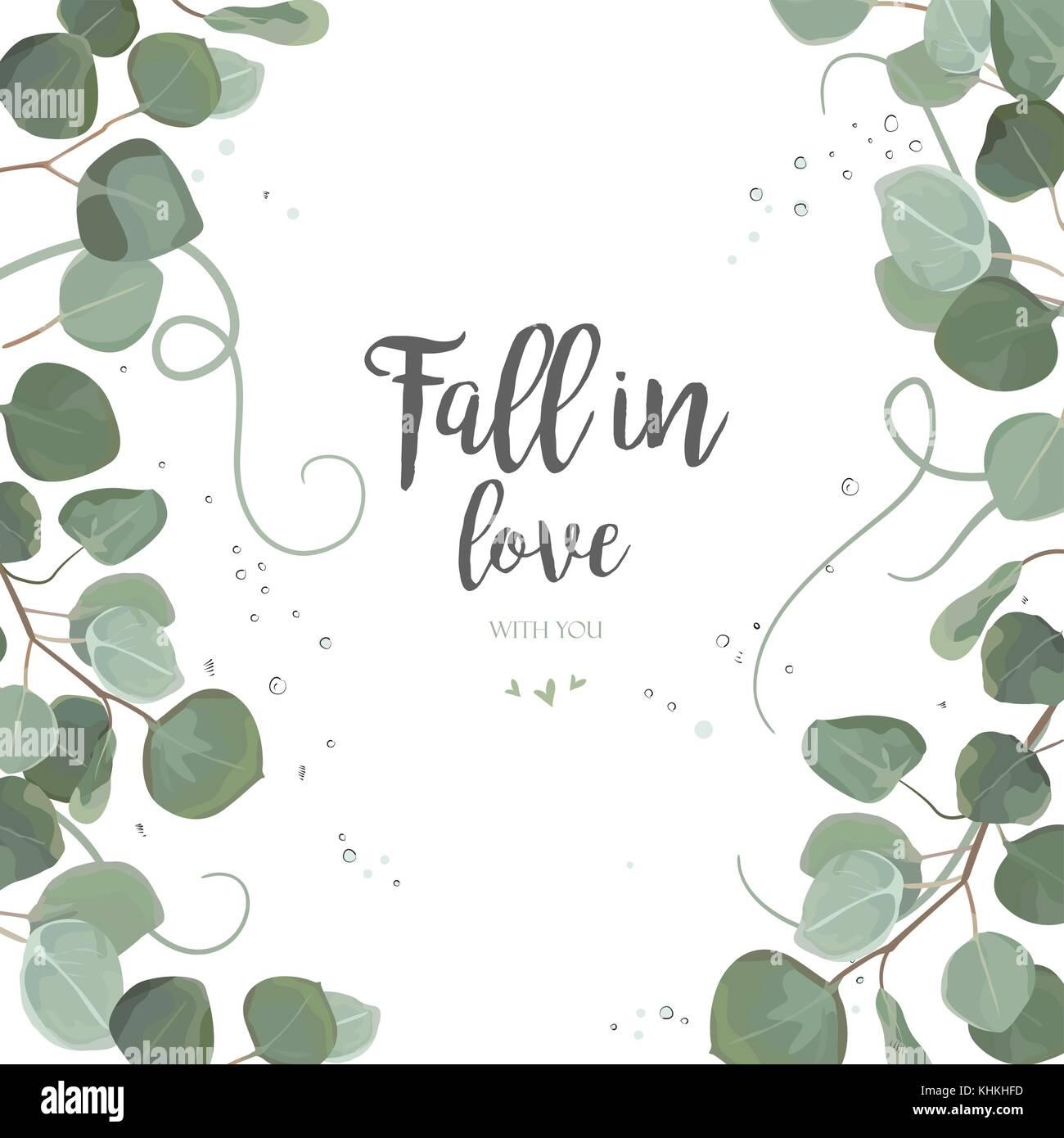 Eukalyptus Silver Dollar grüne Zweige, Blätter Laub, Grenze, Rahmen ...