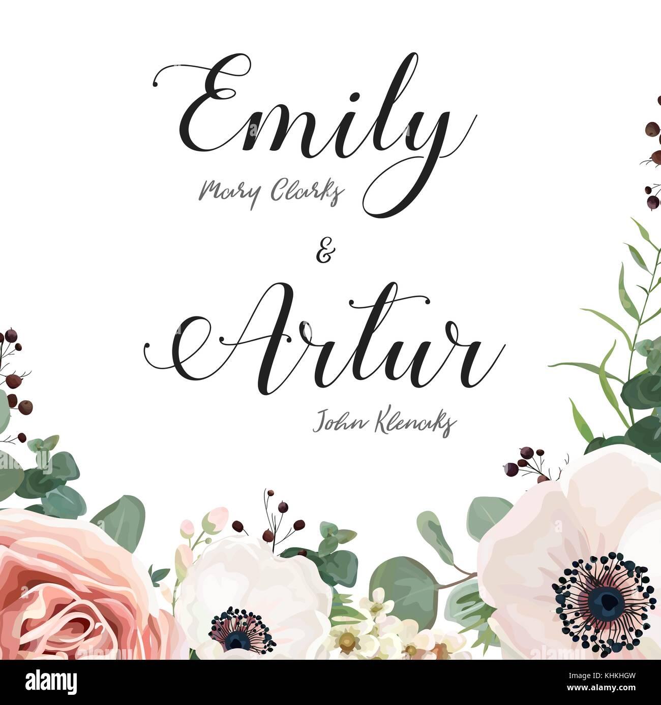 Blumen Hochzeit Einladung Elegante Karte Vektor Design Einladen