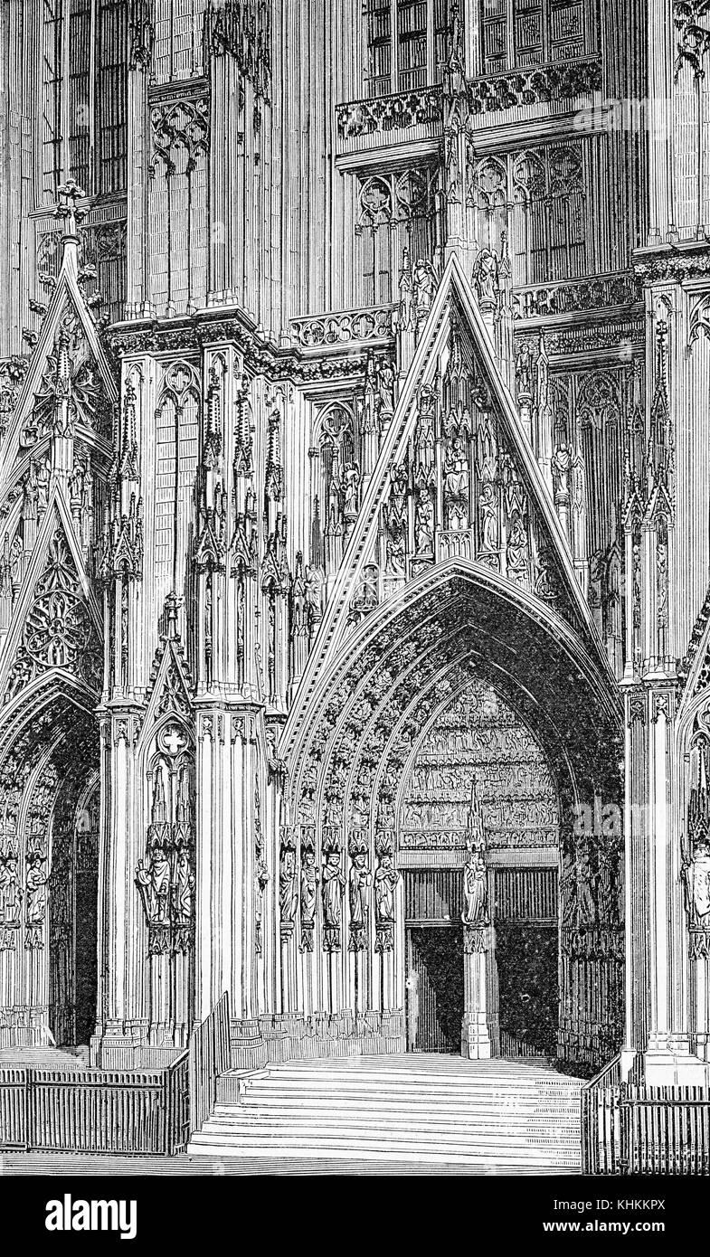 Kolner Dom West Portal Im Gotischen Stil Vintage Gravur Stockfoto