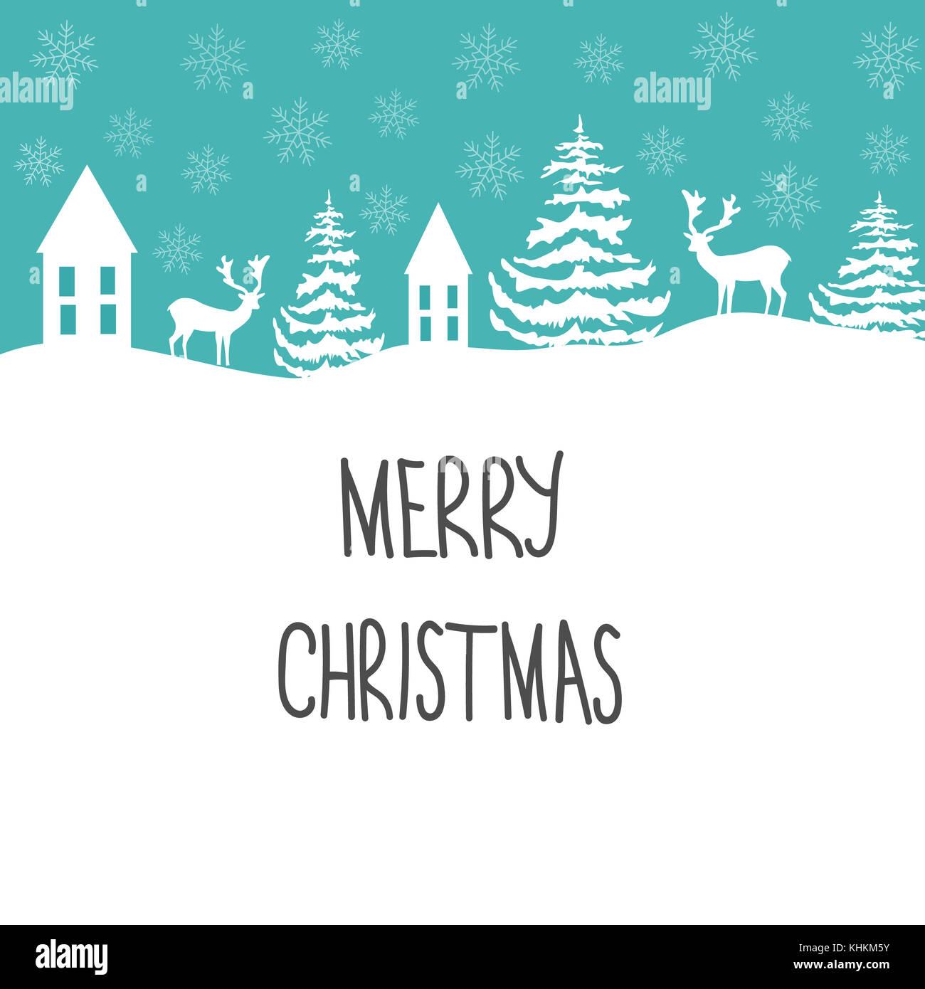 Frohe Weihnachten Grußkarte. weiße Rentier Tannen Schneeflocken ...