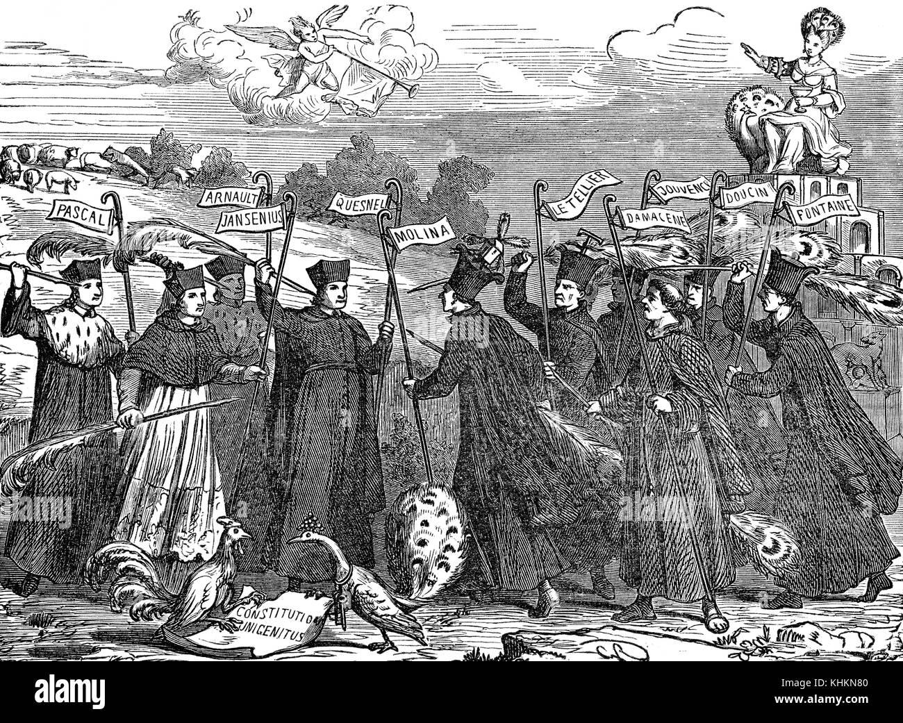 Eine satirische Broschüre über Molinism und Jansenismus im 17. Jahrhundert Stockfoto