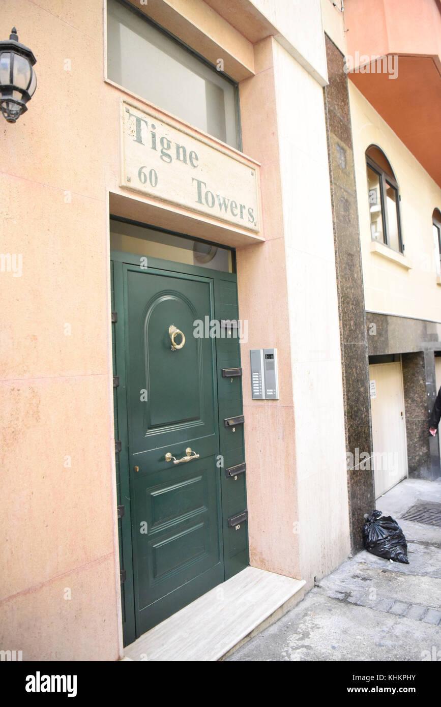 Valetta, Malta. 15/11/2017 -. Die maltesischen Unternehmen und Beteiligungsgesellschaften in der Mitte des 'Paradise Stockbild