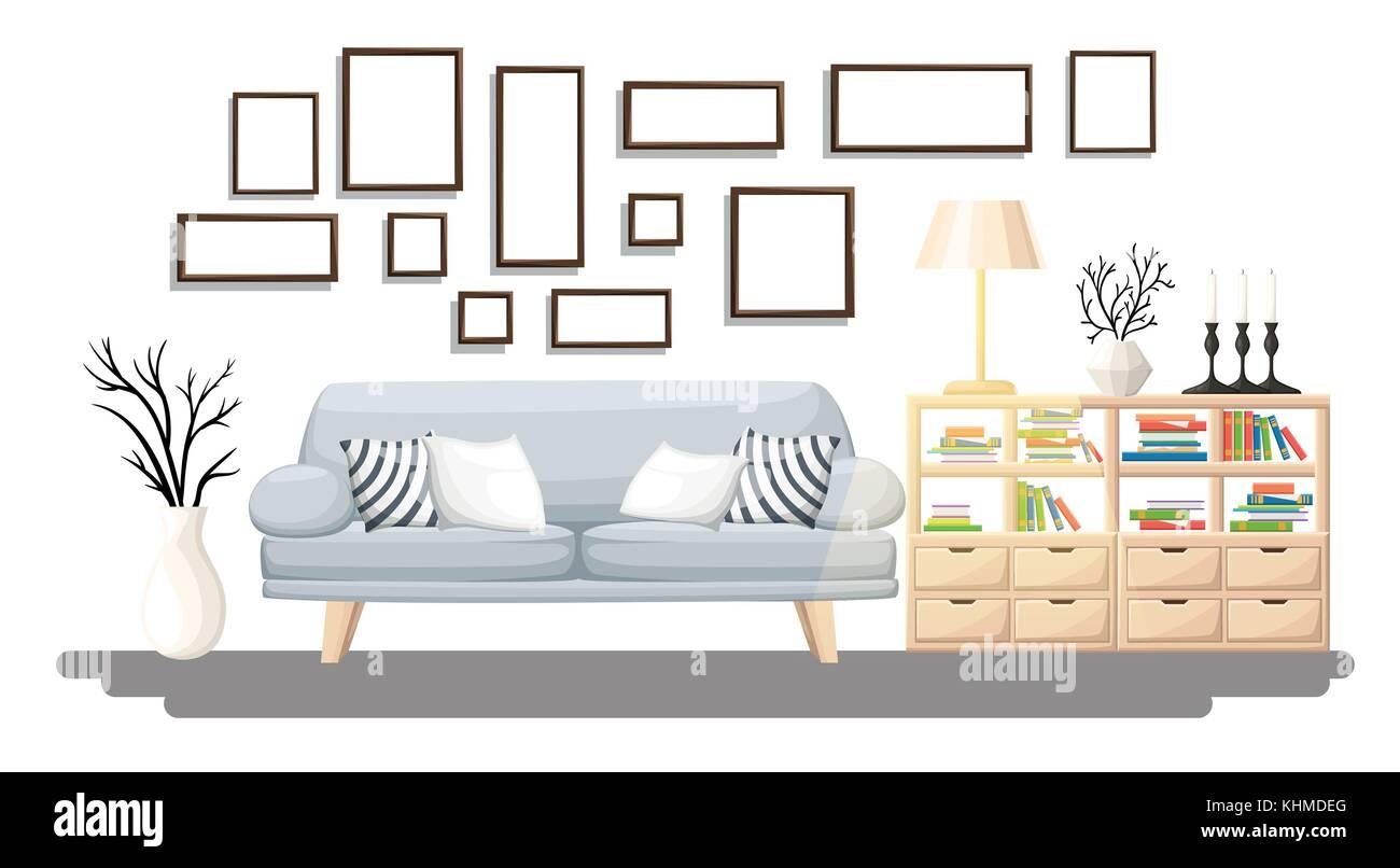 Interieur. modernes Wohnzimmer mit Sofa grau, Vase, Regal mit ...