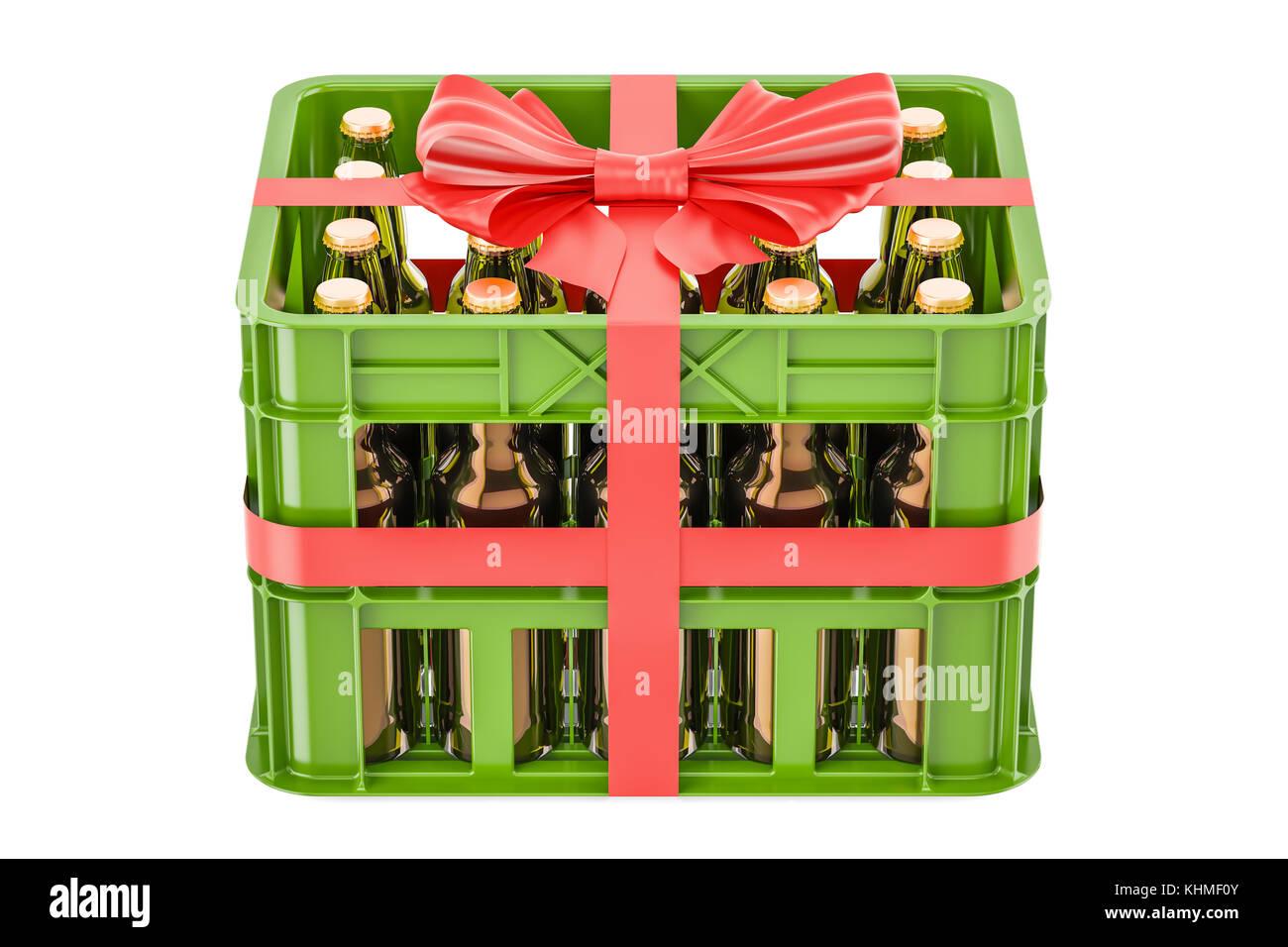 Kiste Voll Bier Flaschen Mit Roter Schleife Und Farbband Geschenk Das Konzept 3d Rendering Auf Weissem Hintergrund Stockfotografie Alamy