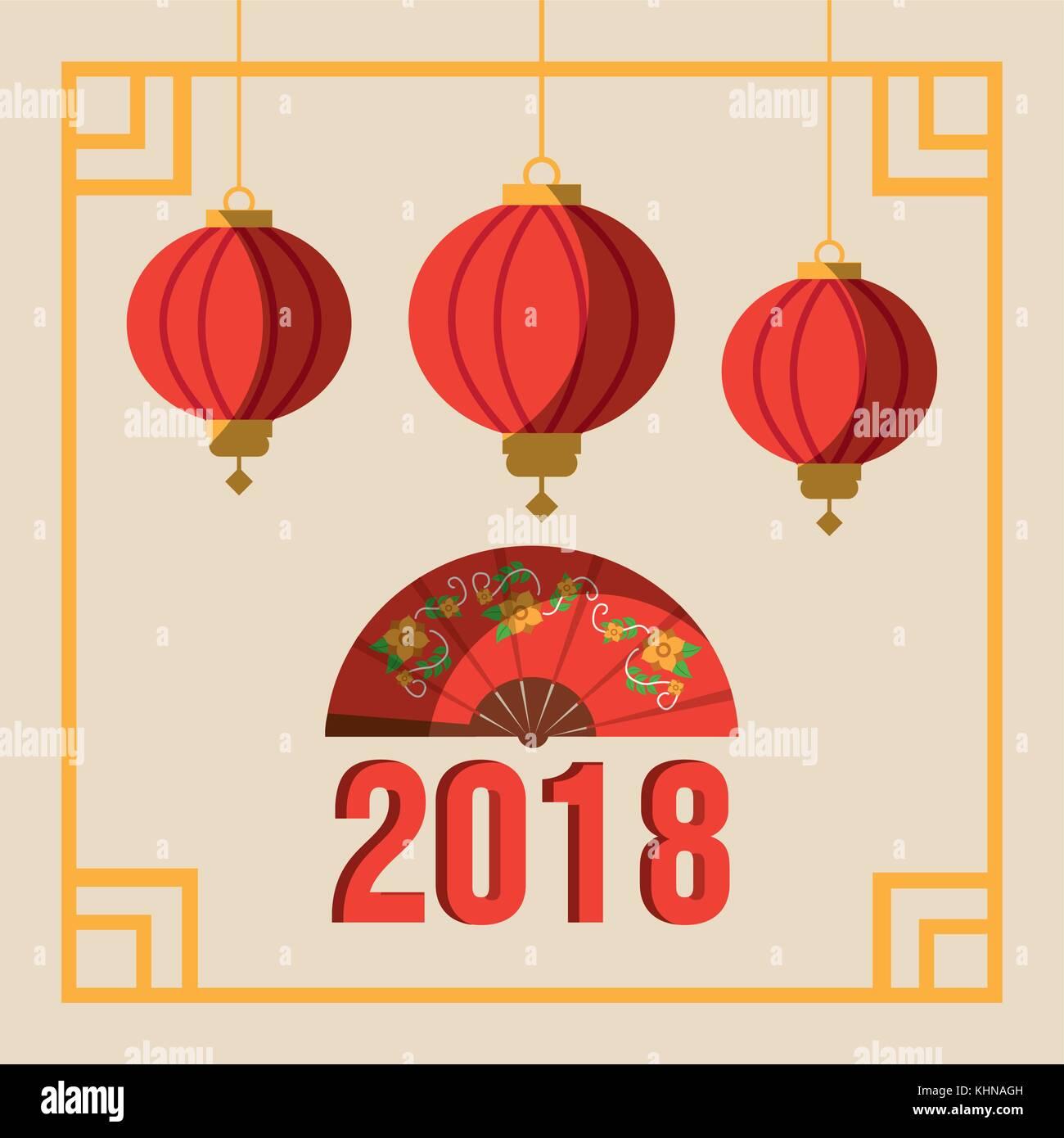 Gruß Postkarte neues Jahr ornamentalen Rahmen mit Laternen auf ...