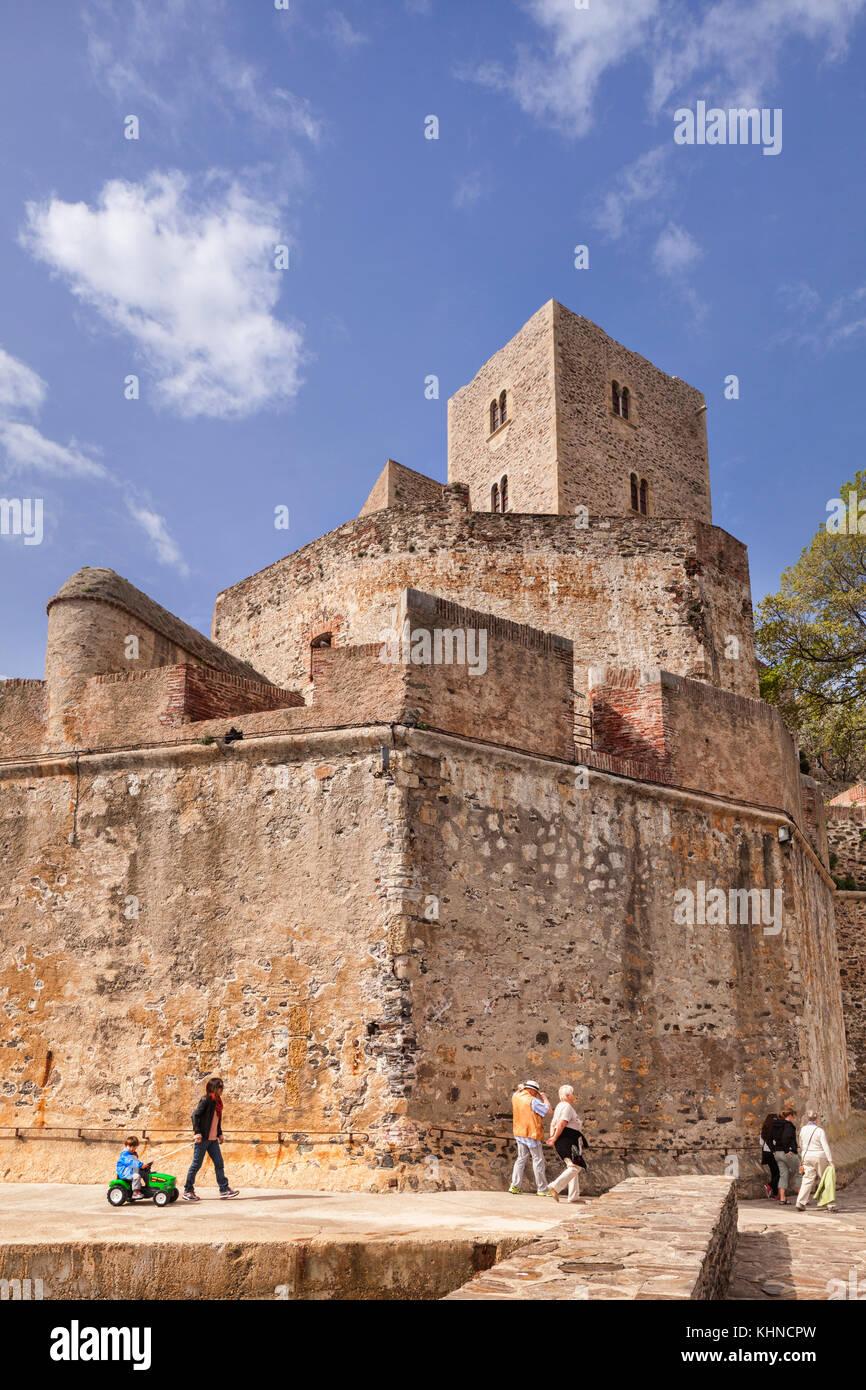 Royal chateau, Collioure, Languedoc - Roussillon, Pyrenäen - Orientales, Frankreich. Stockbild