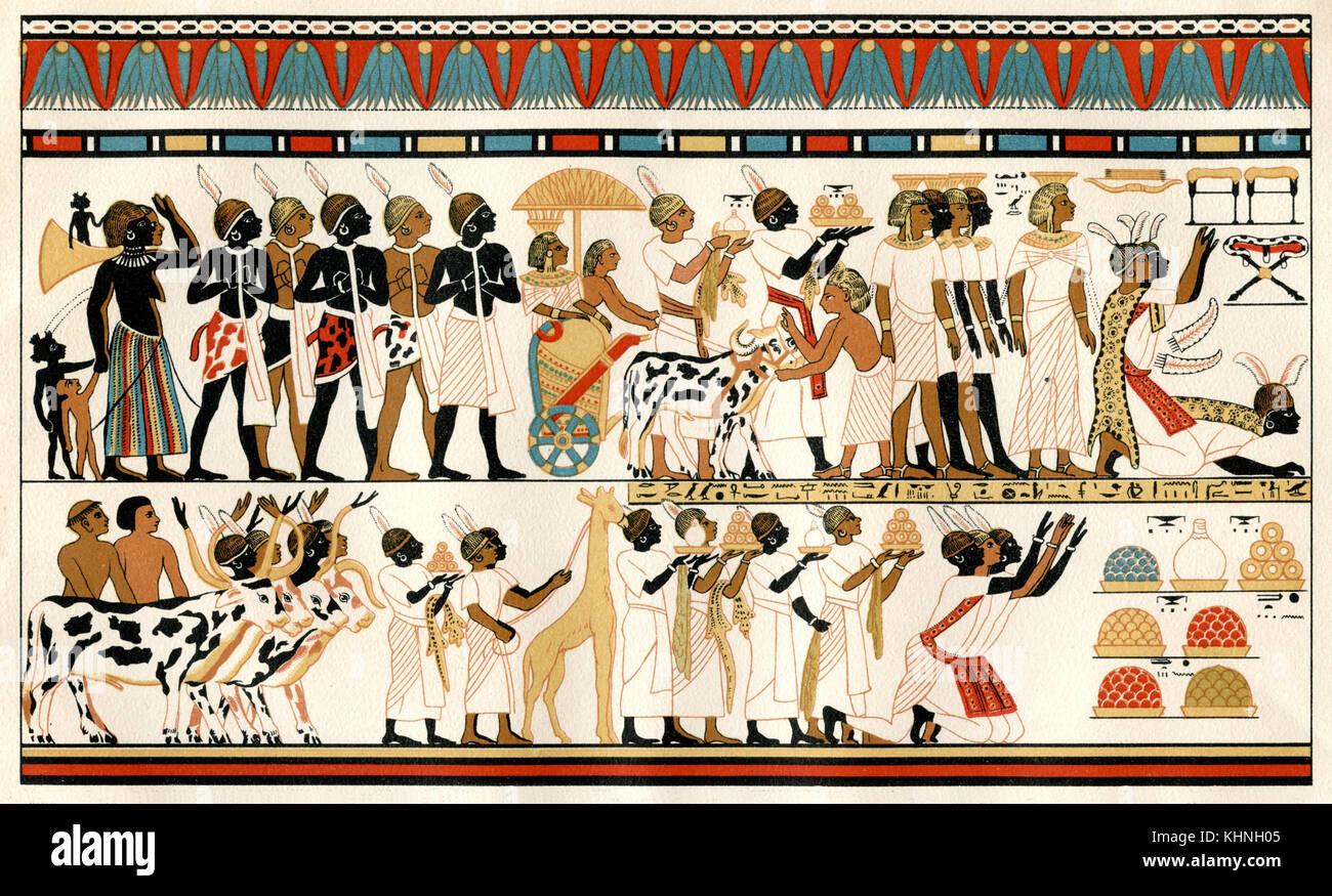 Ägyptische Malerei. Nubische Fürsten bringen ihre Geschenke an die ägyptischen Royals. 1380 v. Chr. Stockbild