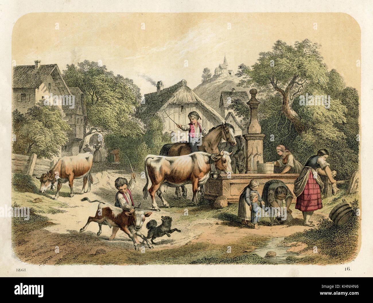 Genremalerei  Bauernhof: Genre Malerei mit gut und Tiere (Bauernhof: genrebild mit ...
