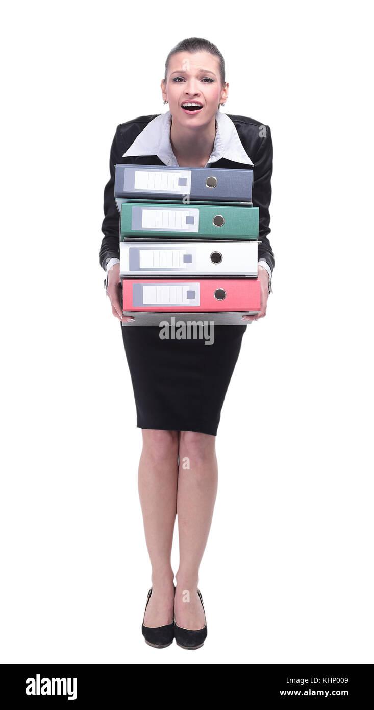 Eine müde Mitarbeiter in einem Anzug hält ein Ordner Stockbild