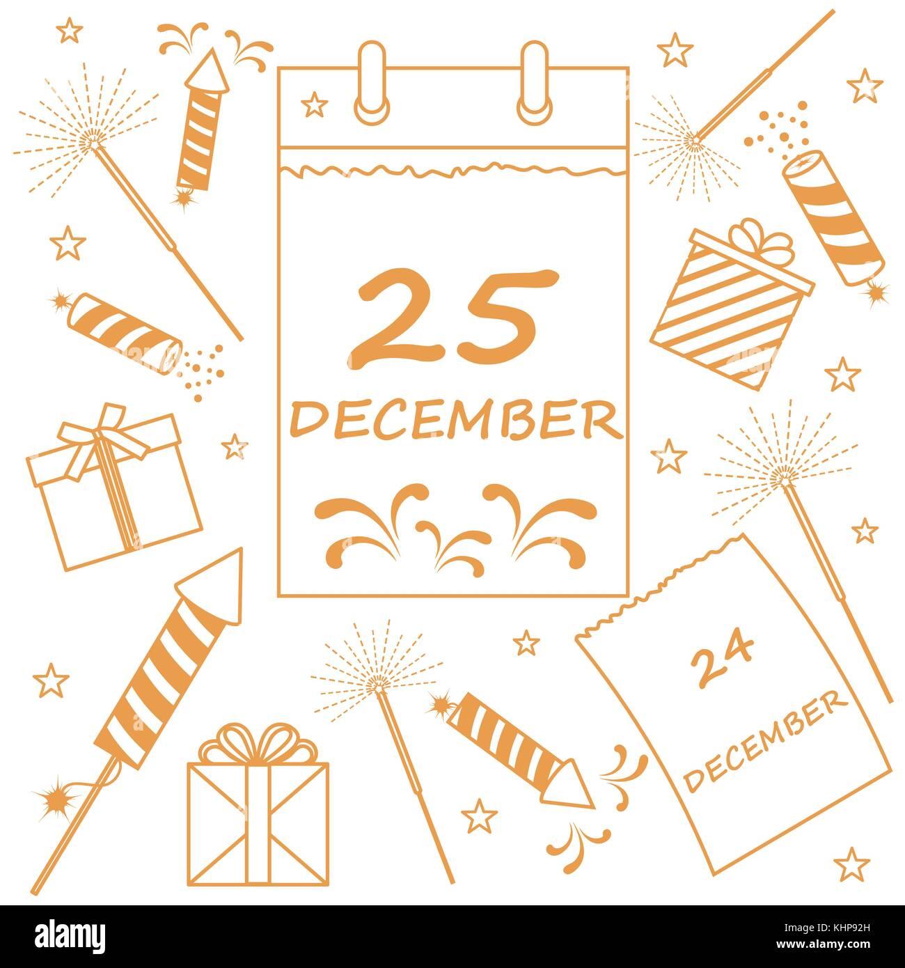 Weihnachten Datum.Vector Illustration Kalender Mit Weihnachten Datum Seite Und