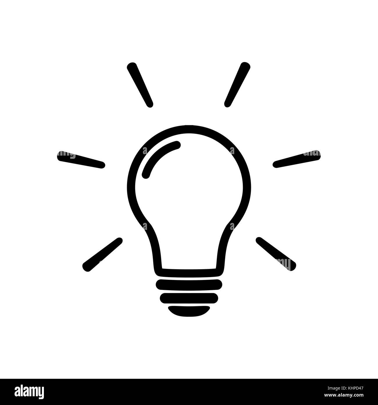 Glühlampe Symbol Isoliert Auf Weiss. Linie Vektor Icon. Glühbirne Anmelden  Flat Style. Beleuchtung Lampe In Schwarz. Glühbirne Als Zeichen Lösung,  Idee, ...