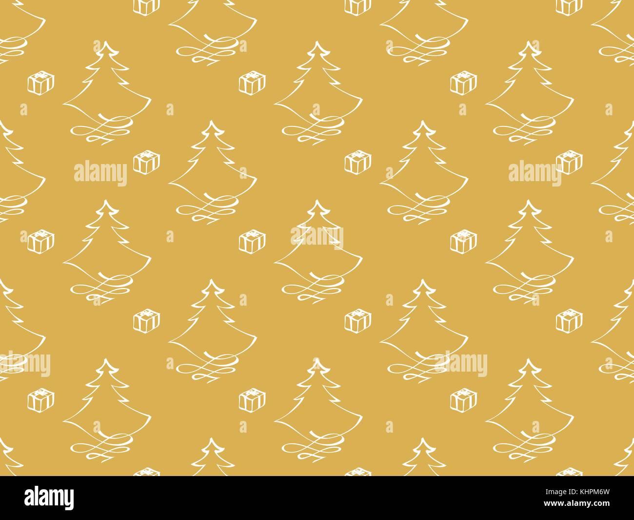 Themen Zu Weihnachten.Hand Gezeichnet Vektor Weihnachten Themen Mit Baum Und Geschenk Auf