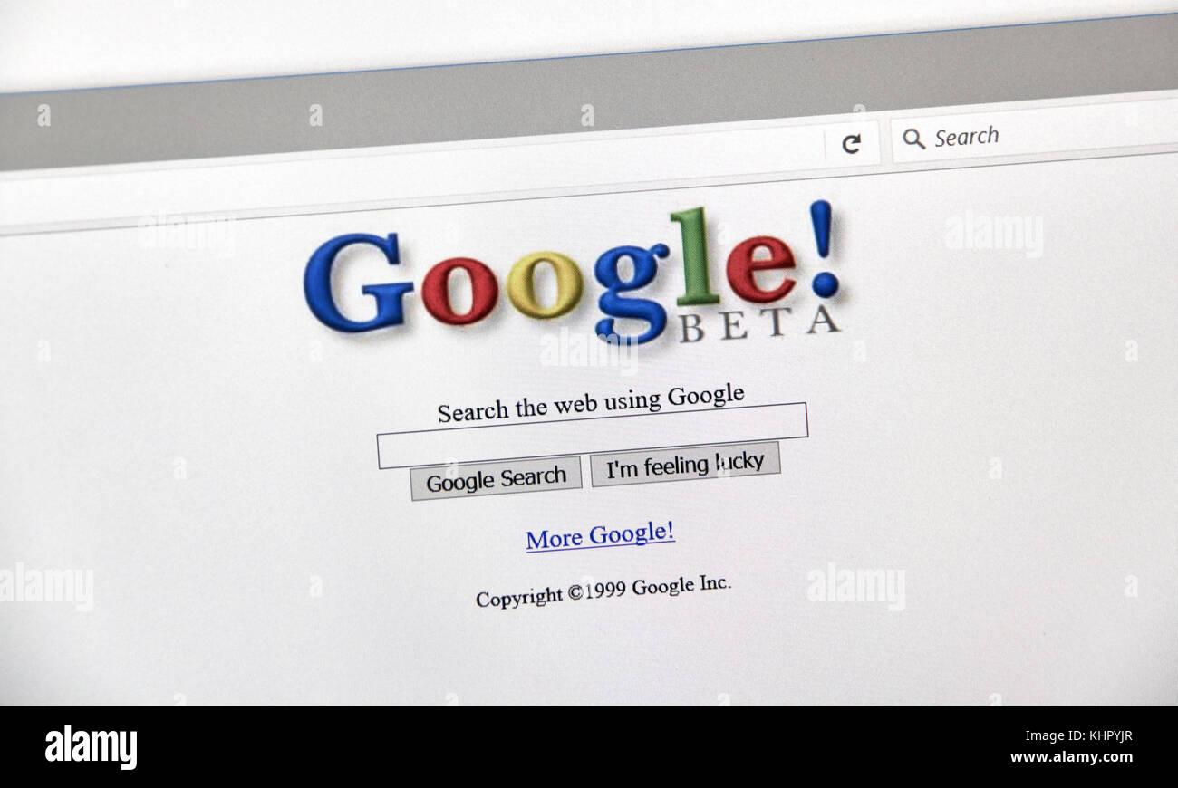 Montreal, Kanada - 2. Oktober 2017: Google Jahr alten Stil Suche 1999 Seite. Google ist eine Suchmaschine von Google Stockbild