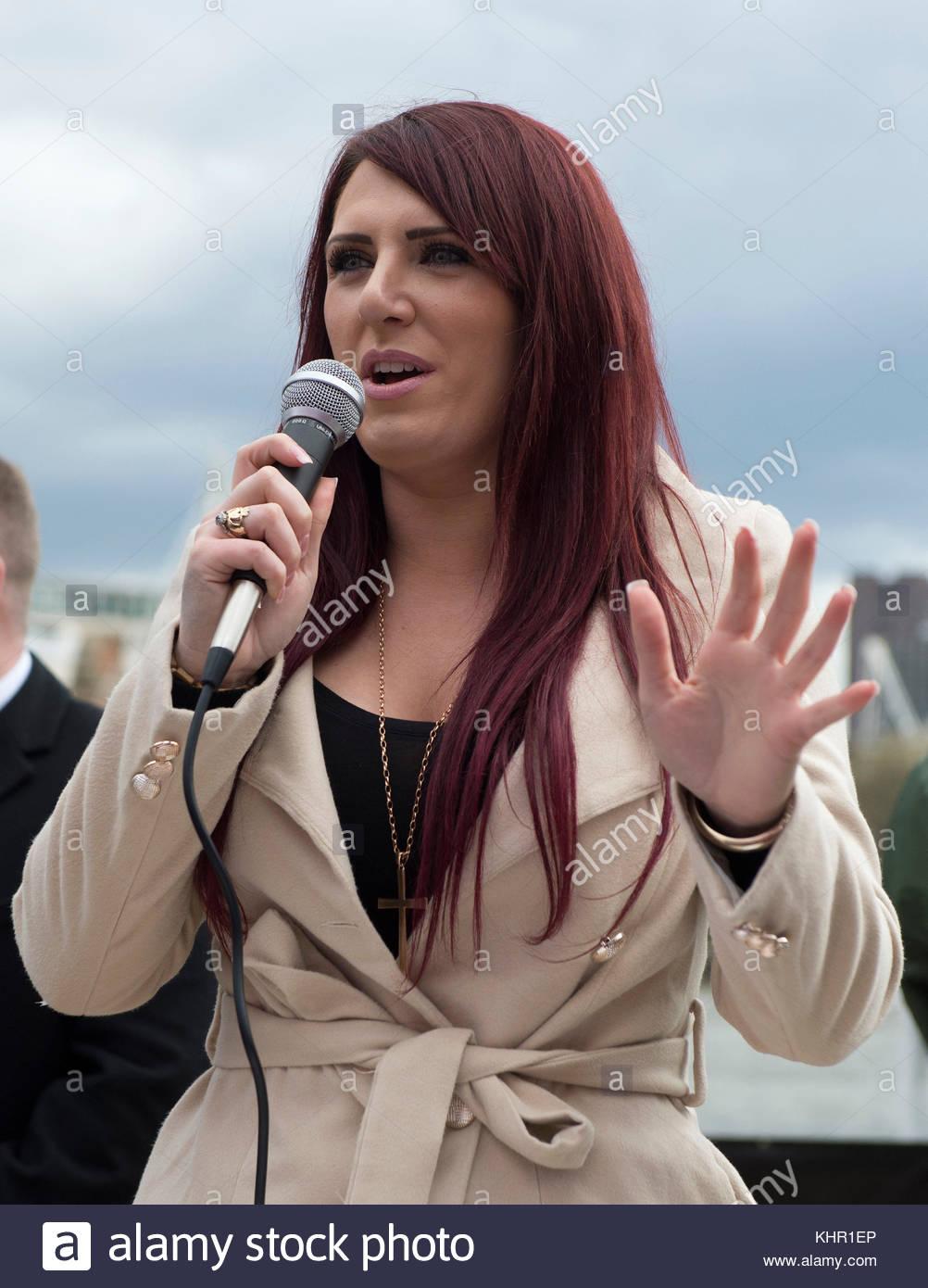 Foto vom 01/02/17 Der stellvertretende Vorsitzende der rechtsextremen Gruppe Großbritannien erste, jayda Fransen, Stockfoto