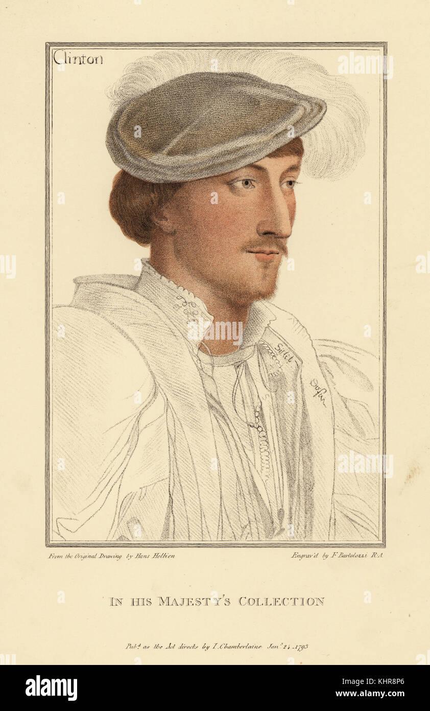 Edward Clinton, 1st Earl of Lincoln, Lord High Admiral, Botschafter, Höfling, 1512-1584. Papierkörbe Kupferstich Stockbild