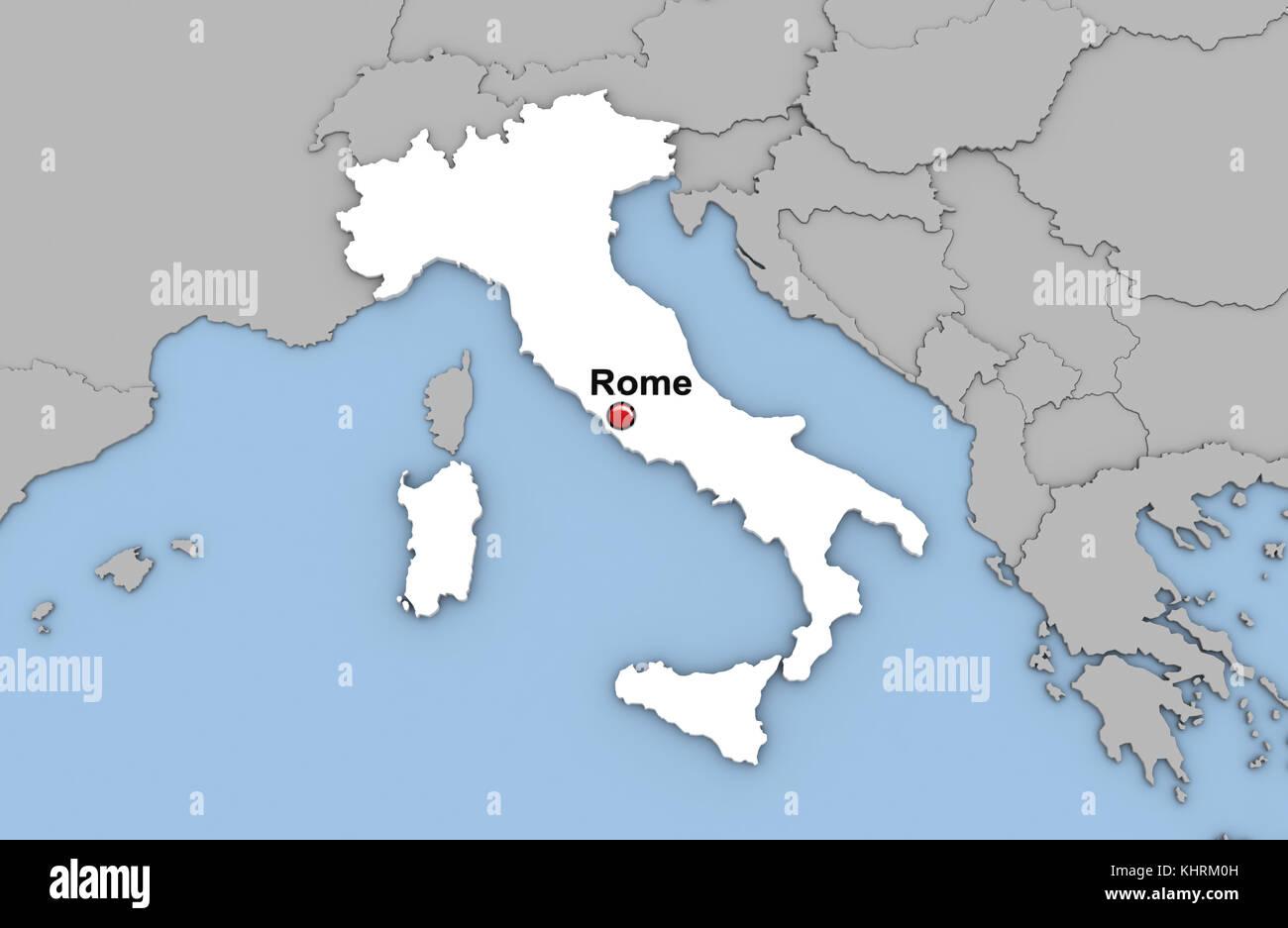 abstrakte 3d render von karte von italia in wei er farbe und lage der hauptstadt rom mit rotem. Black Bedroom Furniture Sets. Home Design Ideas